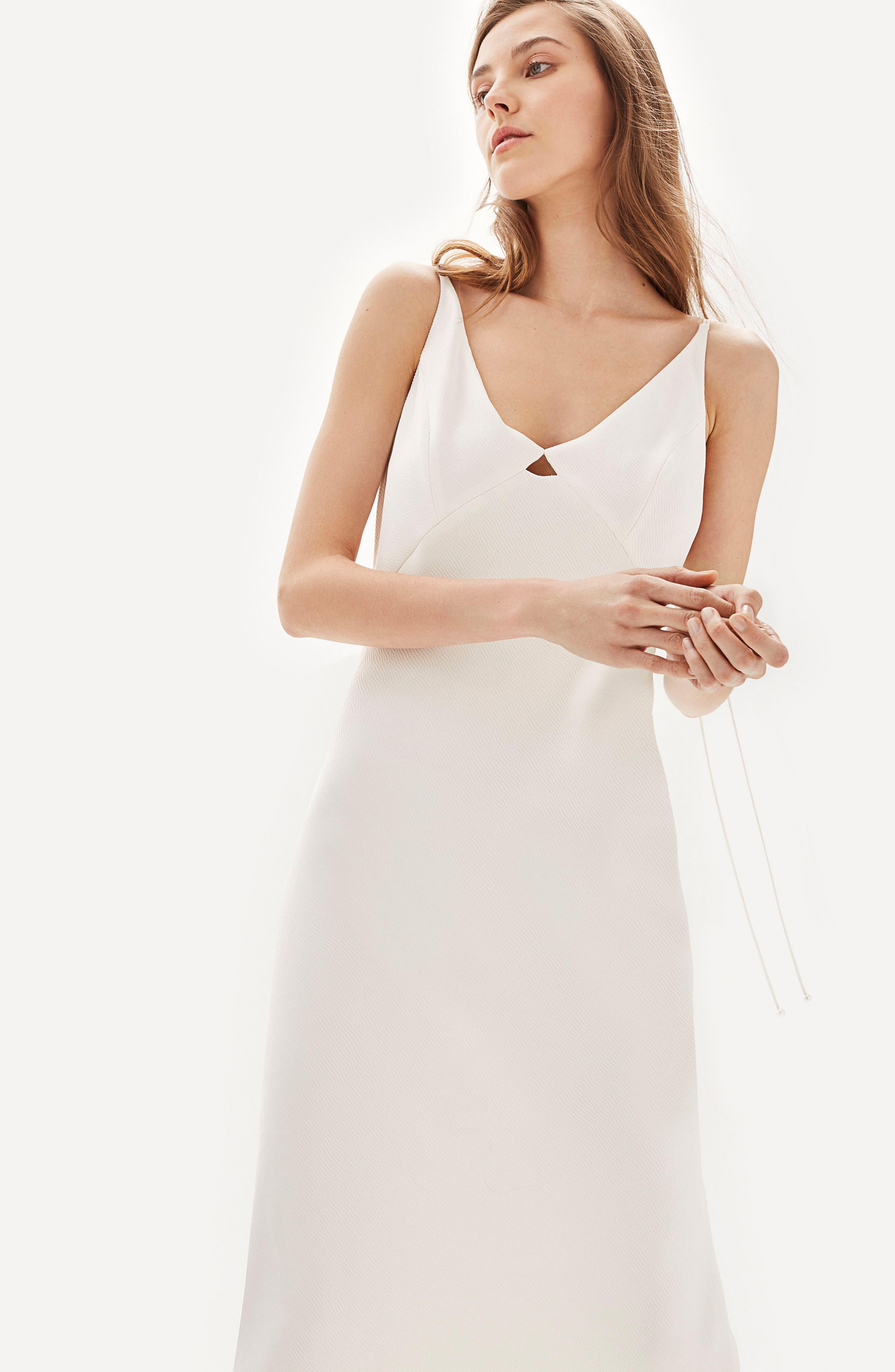 Bride V-Neck Satin Sheath Gown,                             Alternate thumbnail 6, color,                             900