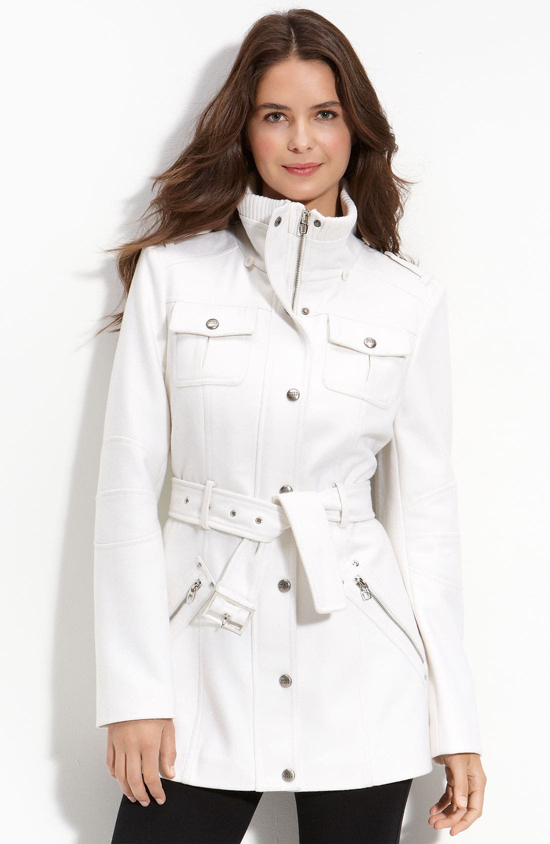 M60 Miss Sixty Belted Wool Blend Jacket,                             Main thumbnail 1, color,                             101