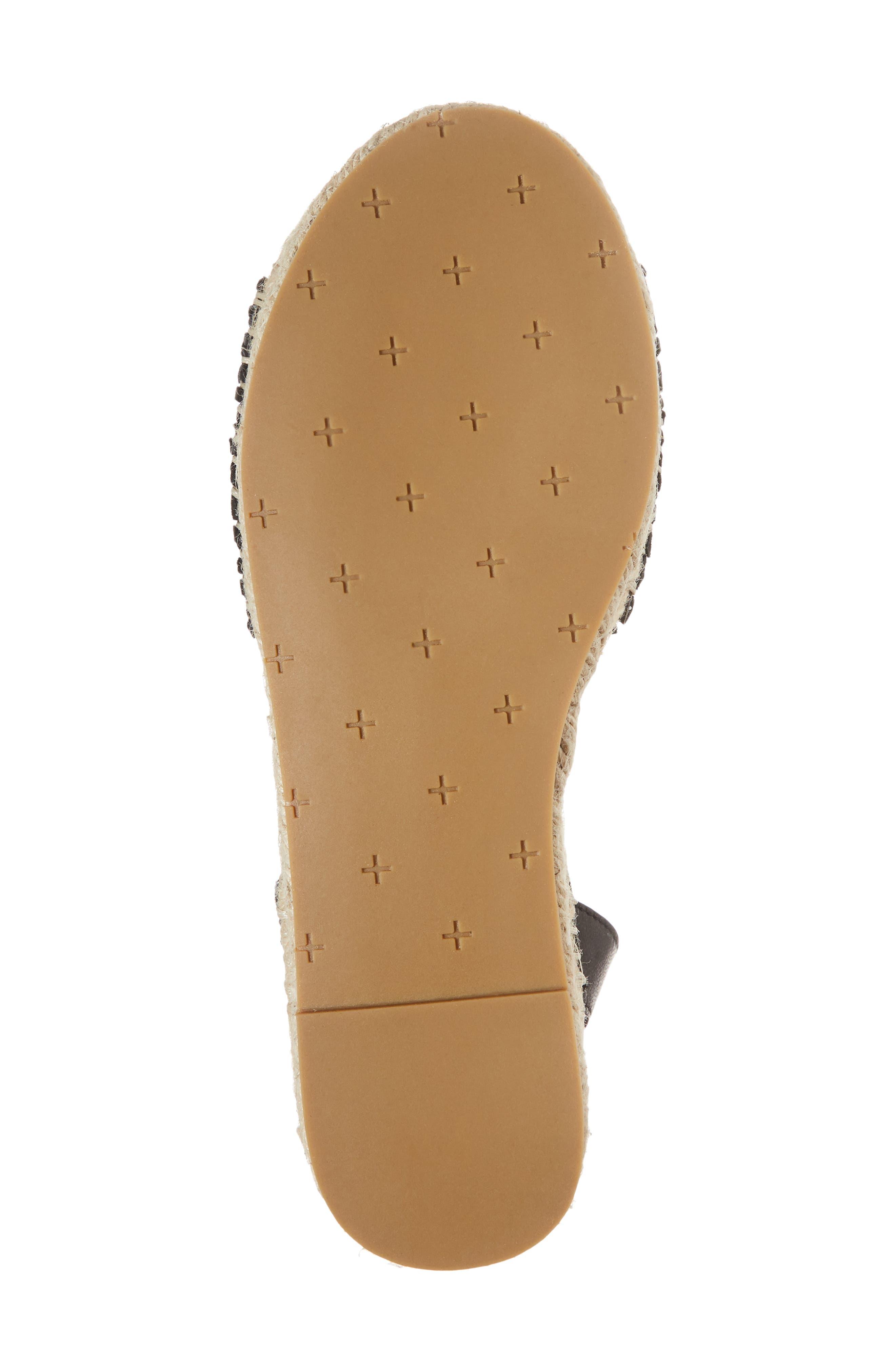 Eliza Ankle Wrap Espadrille Sandal,                             Alternate thumbnail 6, color,                             BLACK FABRIC