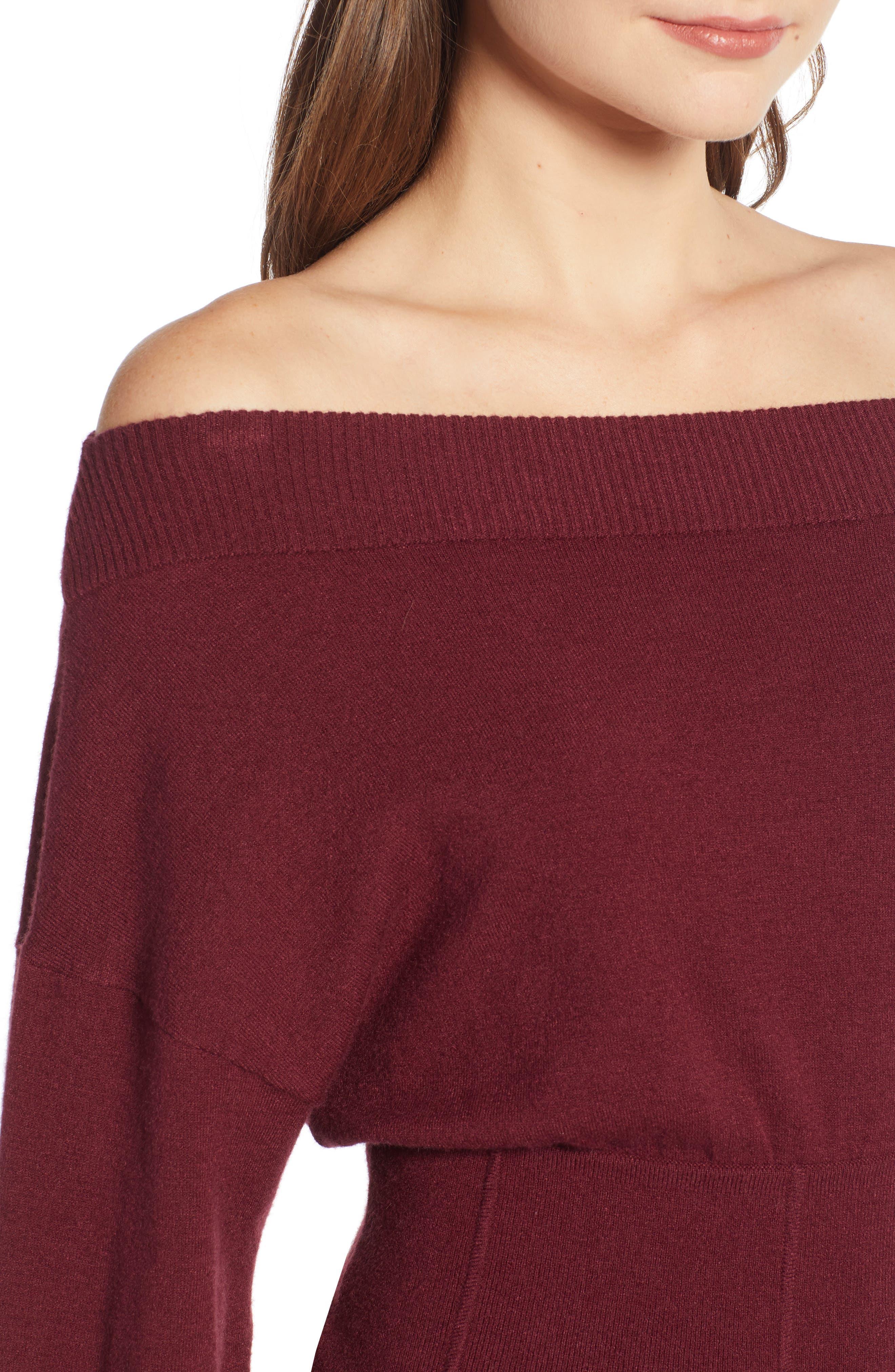 Waist Detail Off the Shoulder Sweater,                             Alternate thumbnail 4, color,                             601