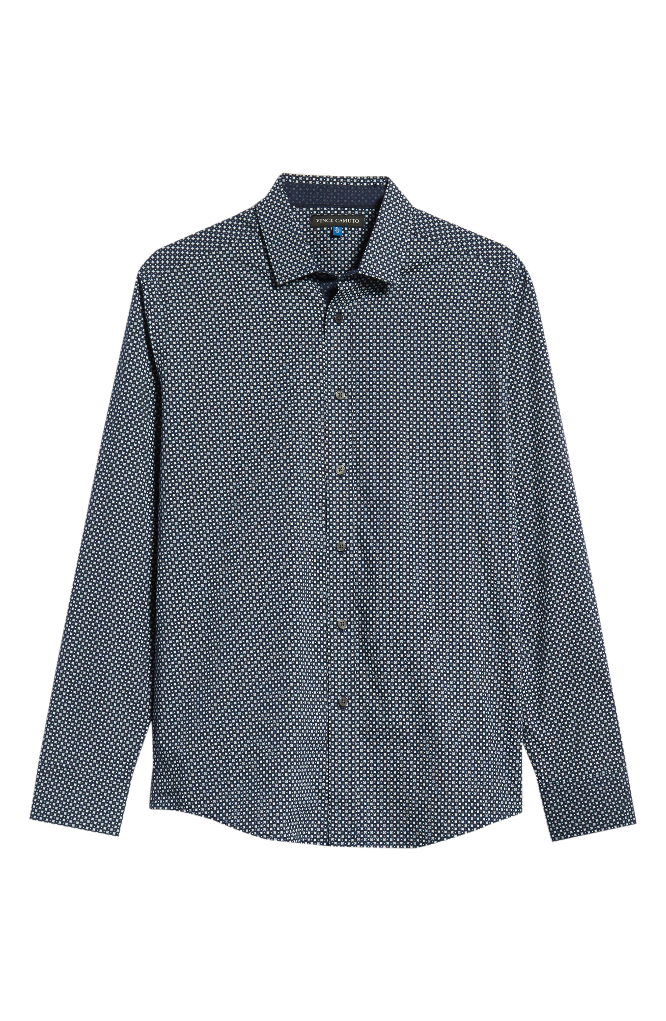 Regular Fit Geometric Dot Sport Shirt,                             Alternate thumbnail 5, color,                             NAVY/ WHITE POPLIN PRINT