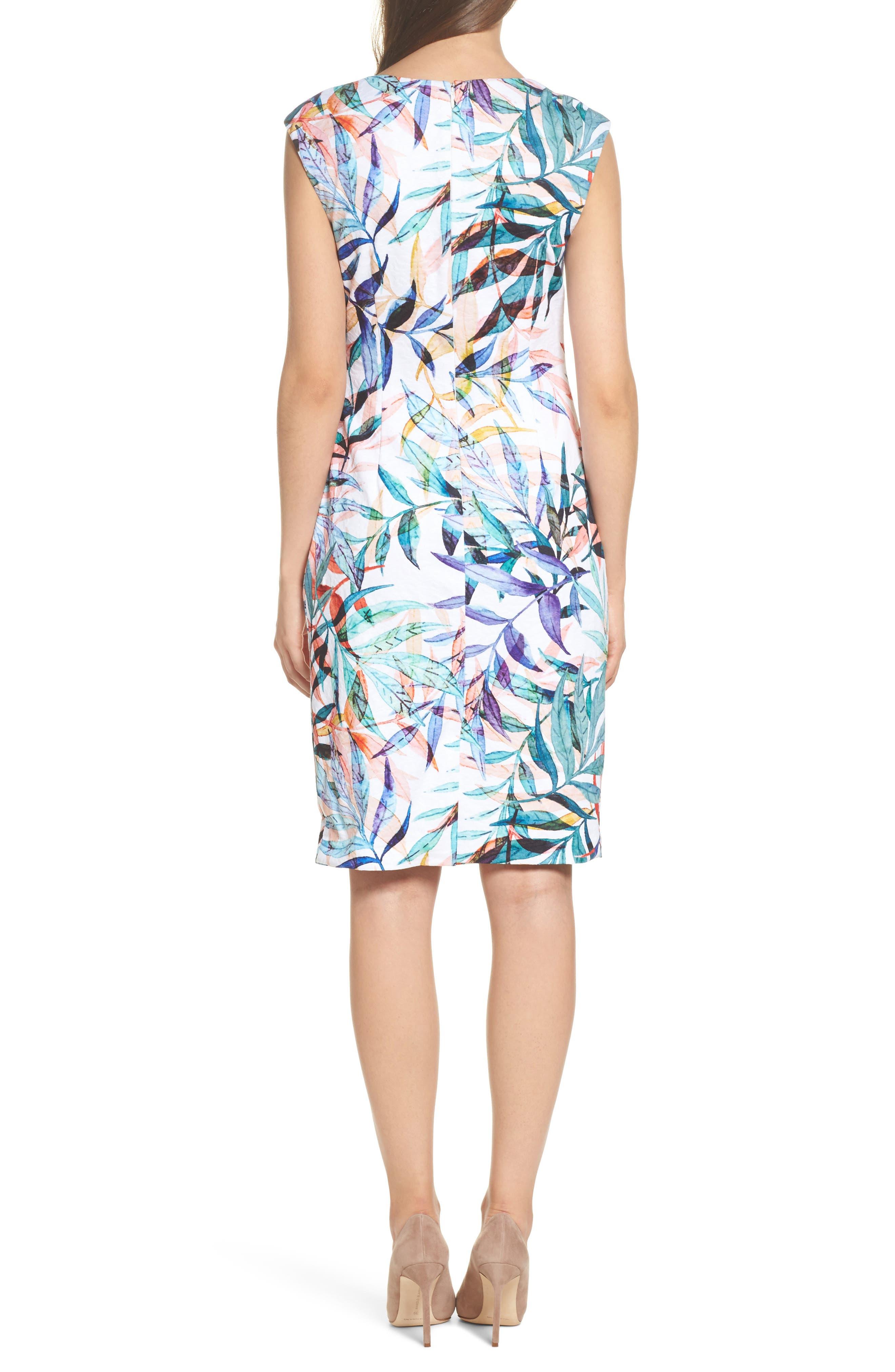 Watercolor Leaves Sheath Dress,                             Alternate thumbnail 2, color,                             900