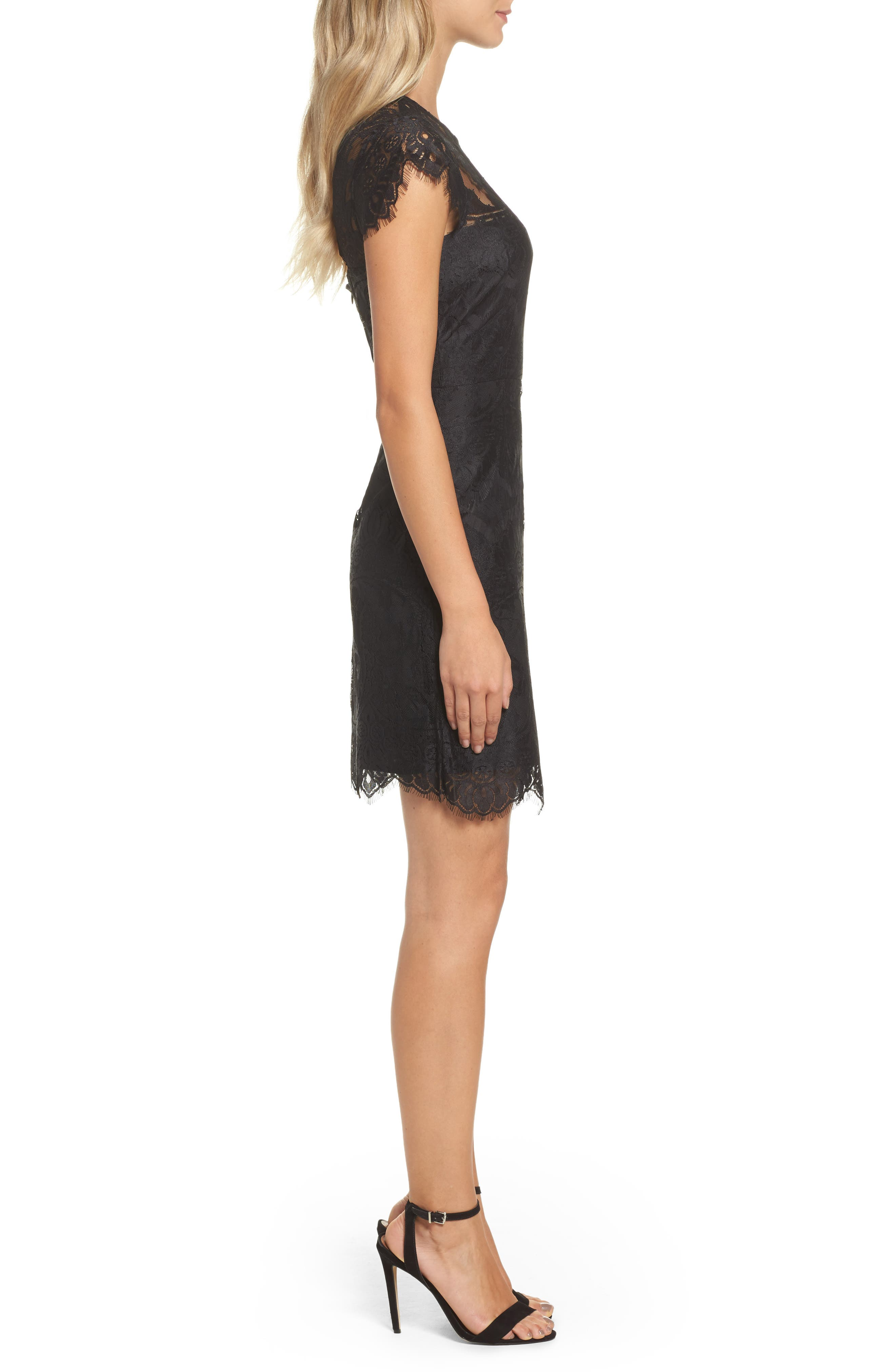 Jayce Lace Sheath Dress,                             Alternate thumbnail 3, color,                             BLACK