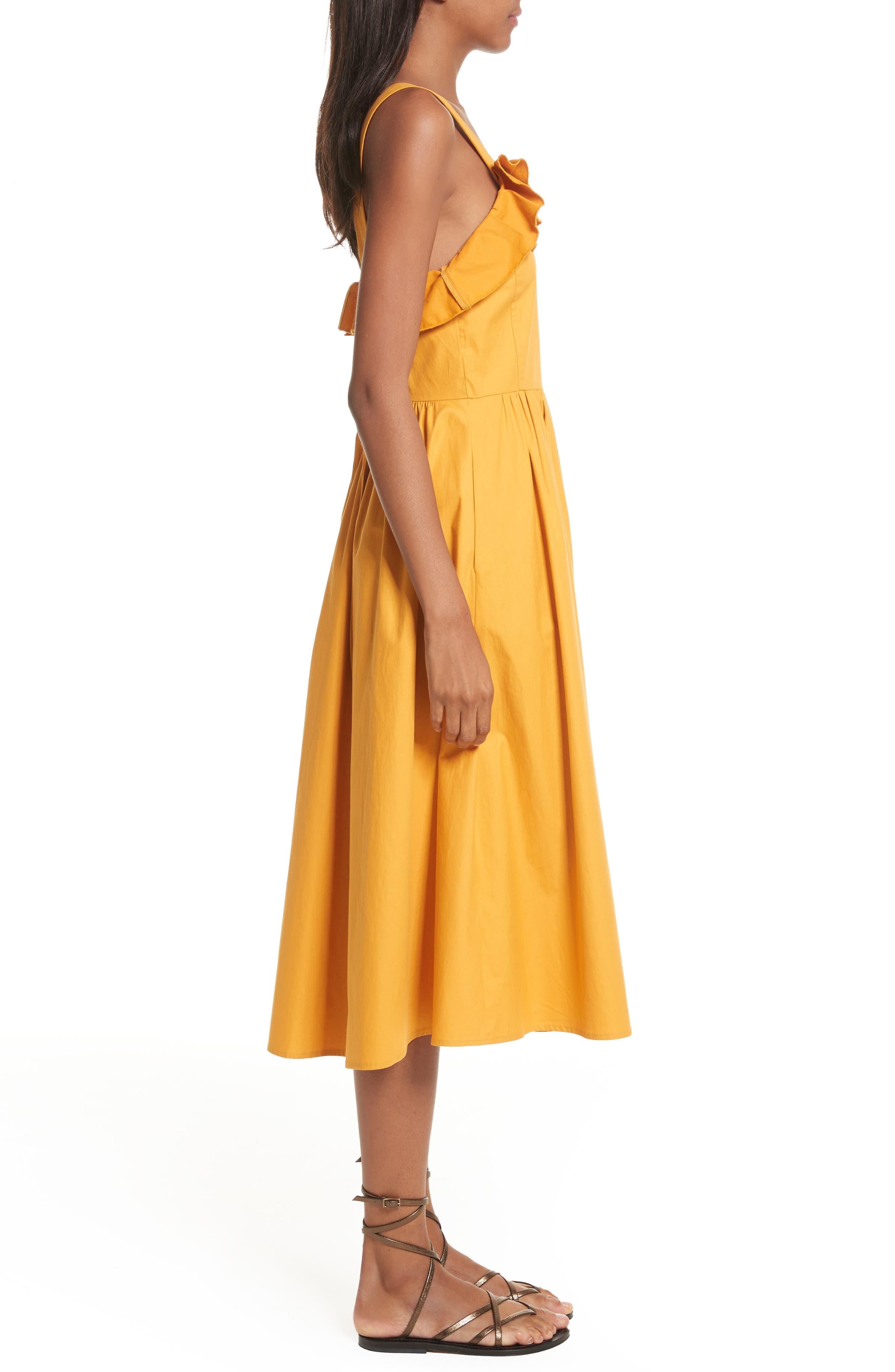 Sunrise Ruffle Midi Dress,                             Alternate thumbnail 3, color,                             800