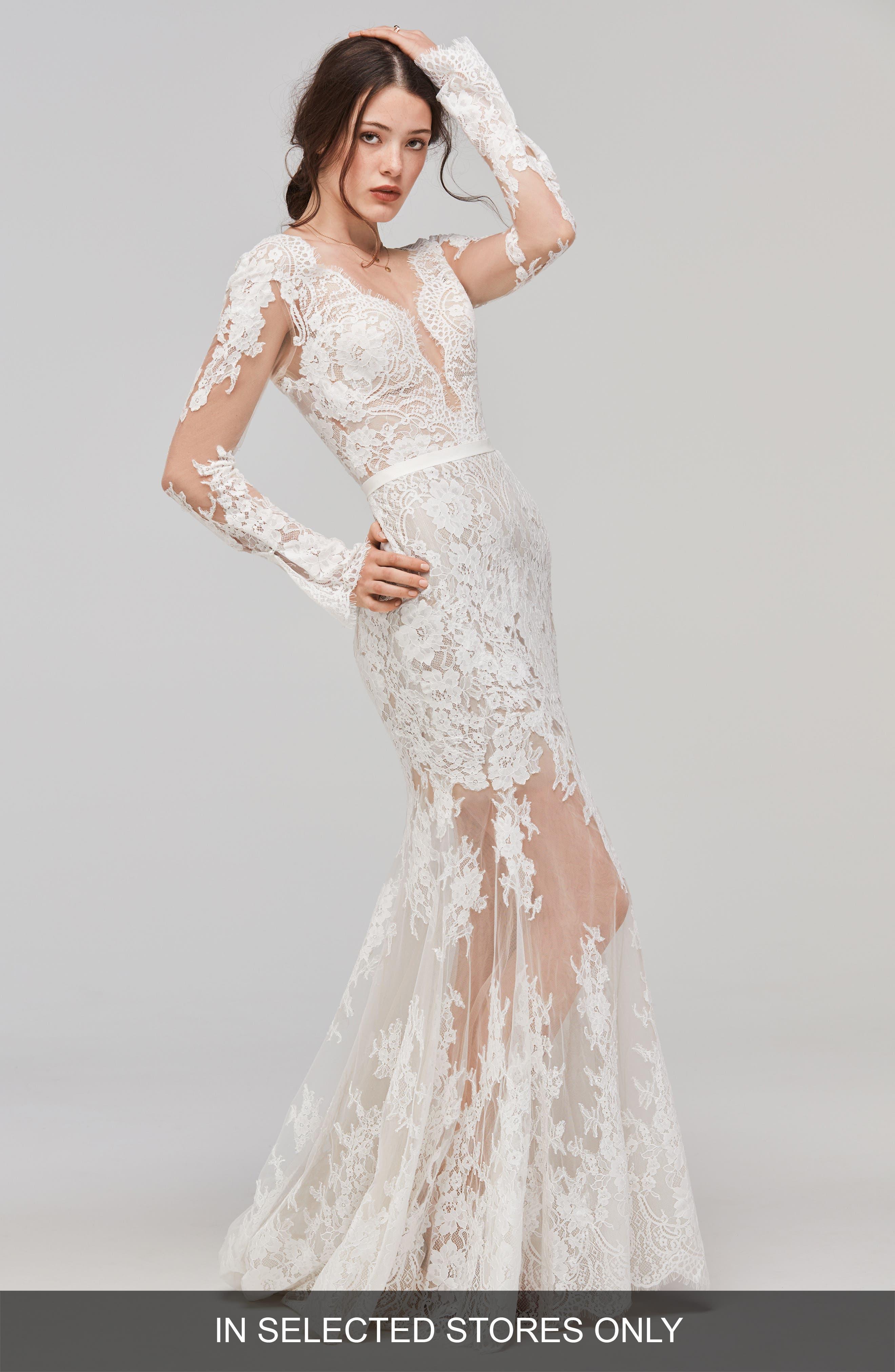 Sage Alençon Lace Trumpet Gown,                         Main,                         color, IVORY/BRONZE