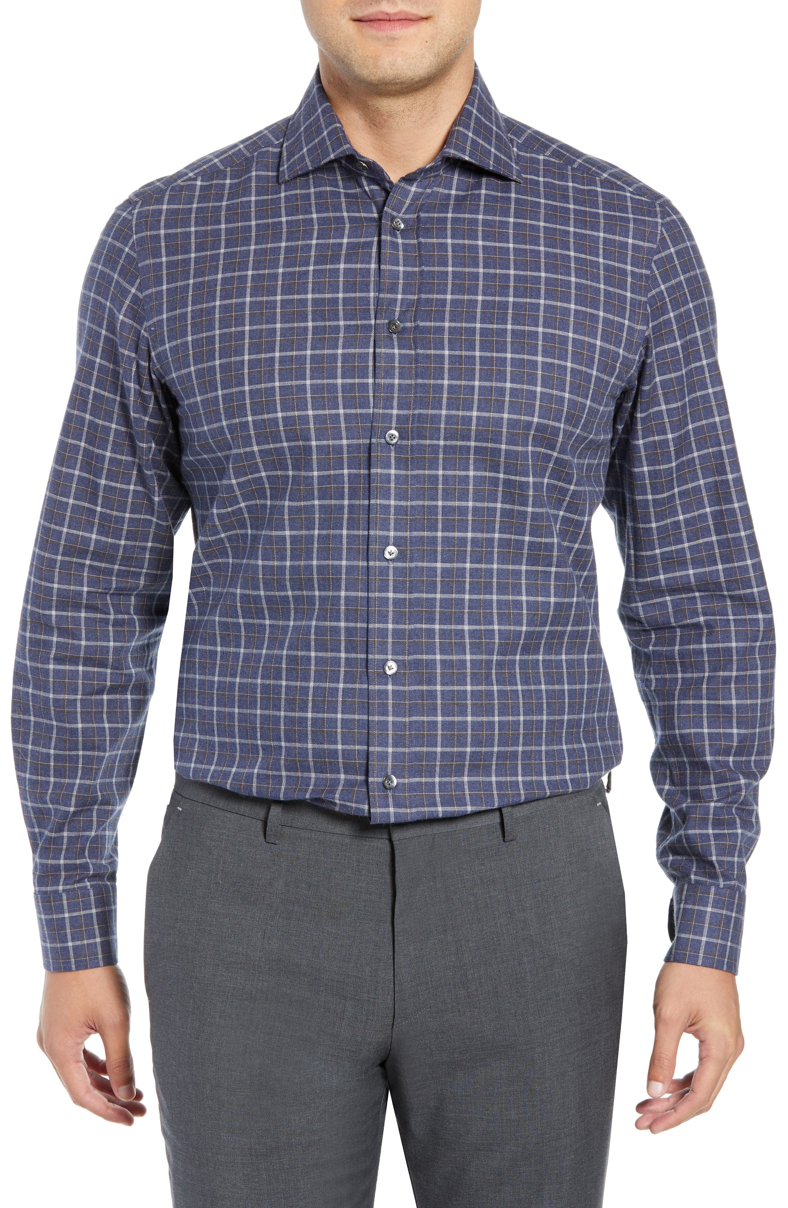 LUCIANO BARBERA Slim Fit Check Dress Shirt in Navy