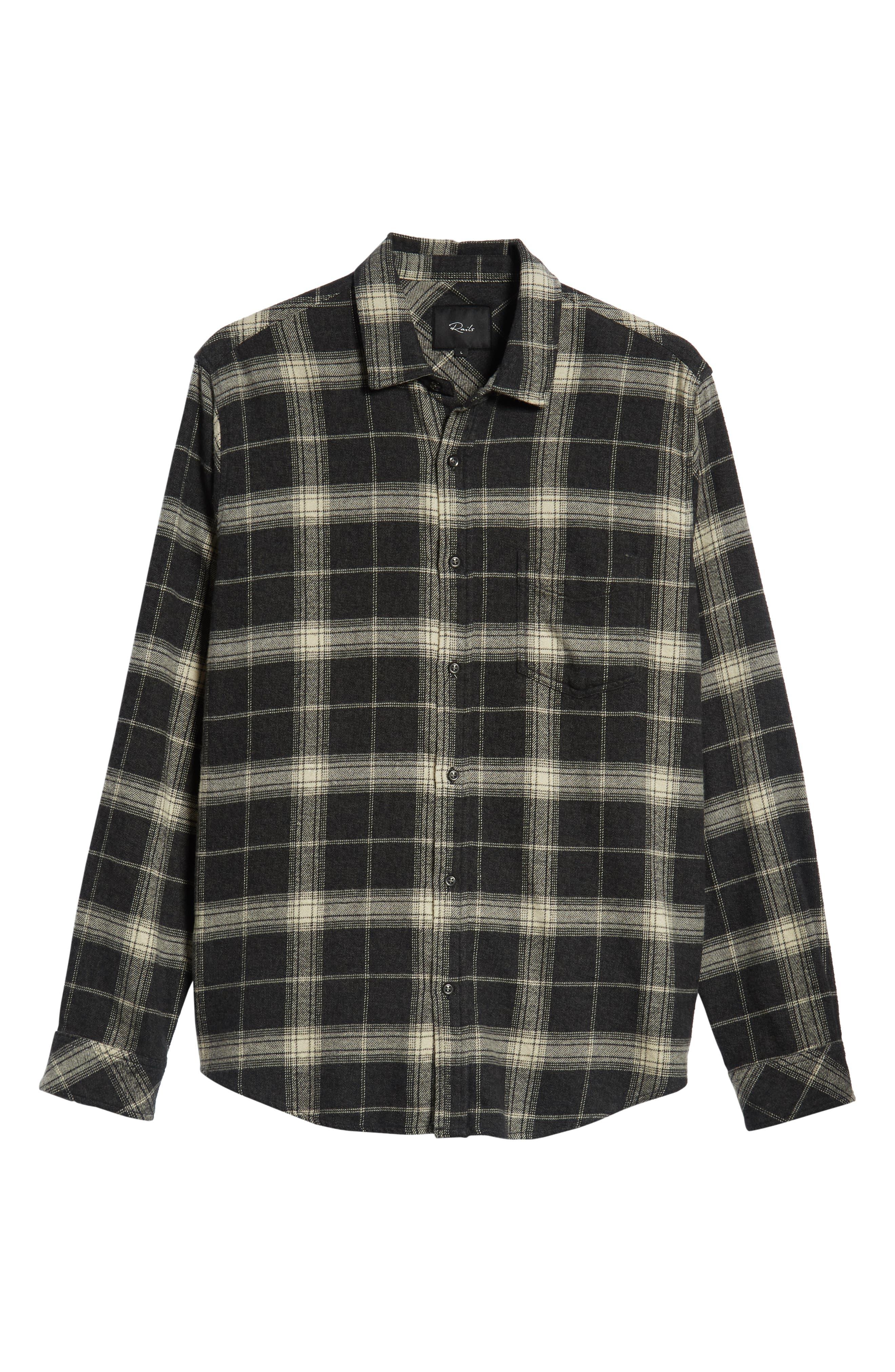 Forrest Regular Fit Plaid Flannel Sport Shirt,                             Alternate thumbnail 5, color,                             COAL/ IVORY