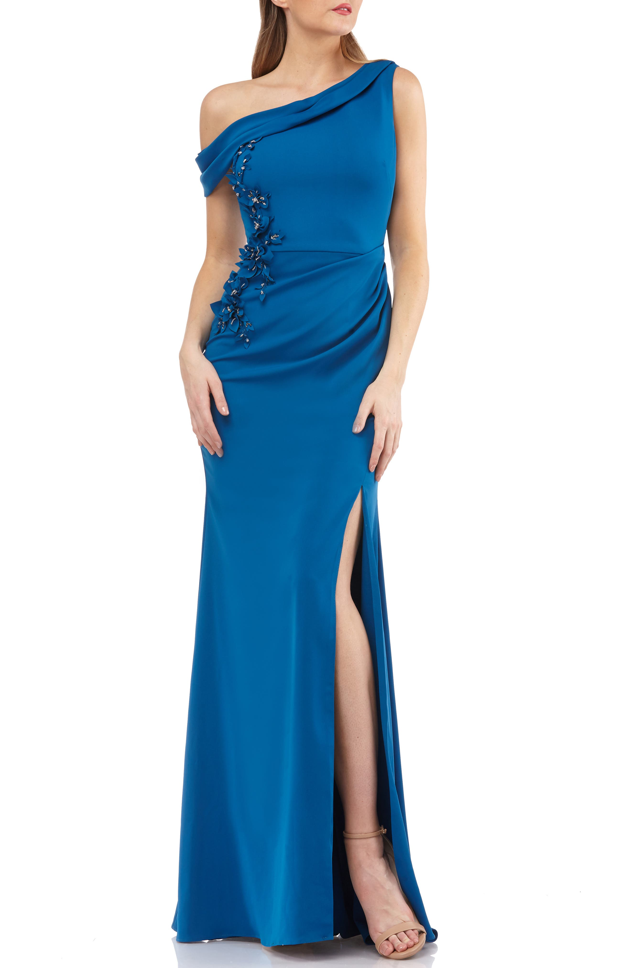 CARMEN MARC VALVO INFUSION One-Shoulder Crepe Gown in Persian Blue