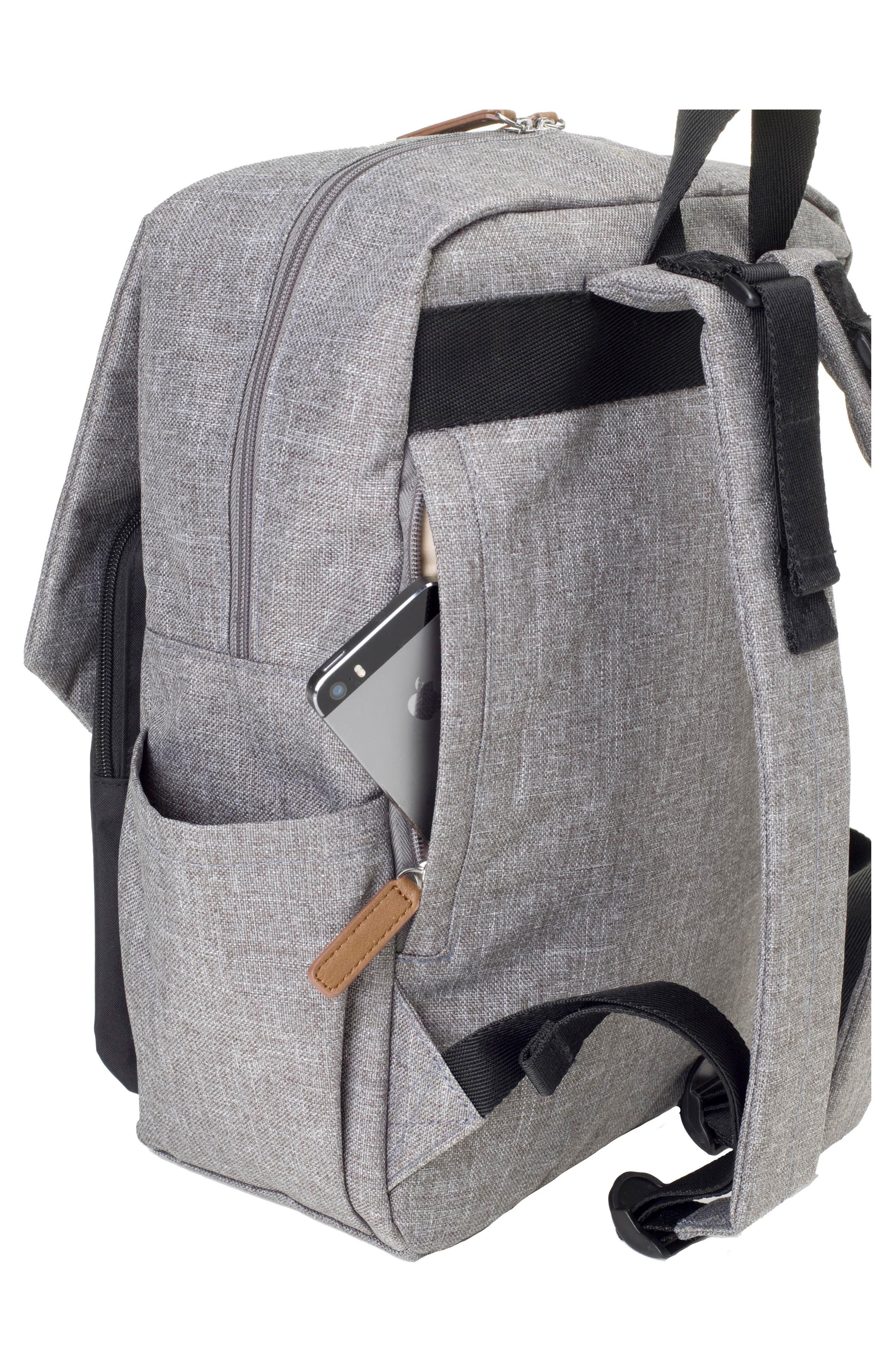 George Water Resistant Diaper Backpack,                             Alternate thumbnail 4, color,                             BLACK/ GREY