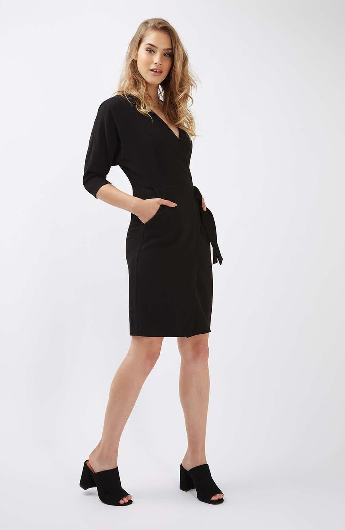 Dolman Sleeve Wrap Midi Dress,                             Alternate thumbnail 4, color,                             001