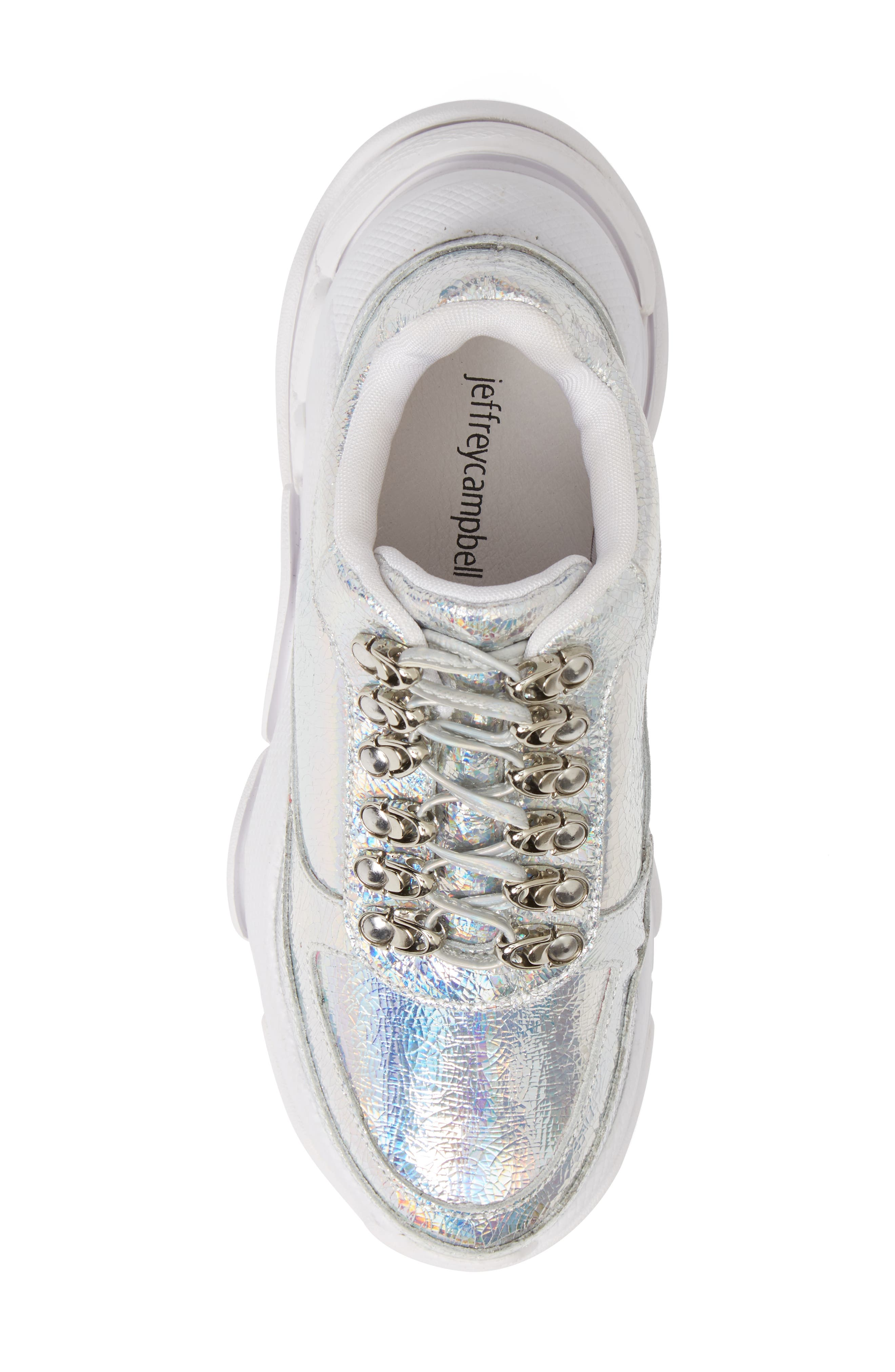 Hotspot Lace-Up Sneaker,                             Alternate thumbnail 5, color,                             SILVER CRINKLE