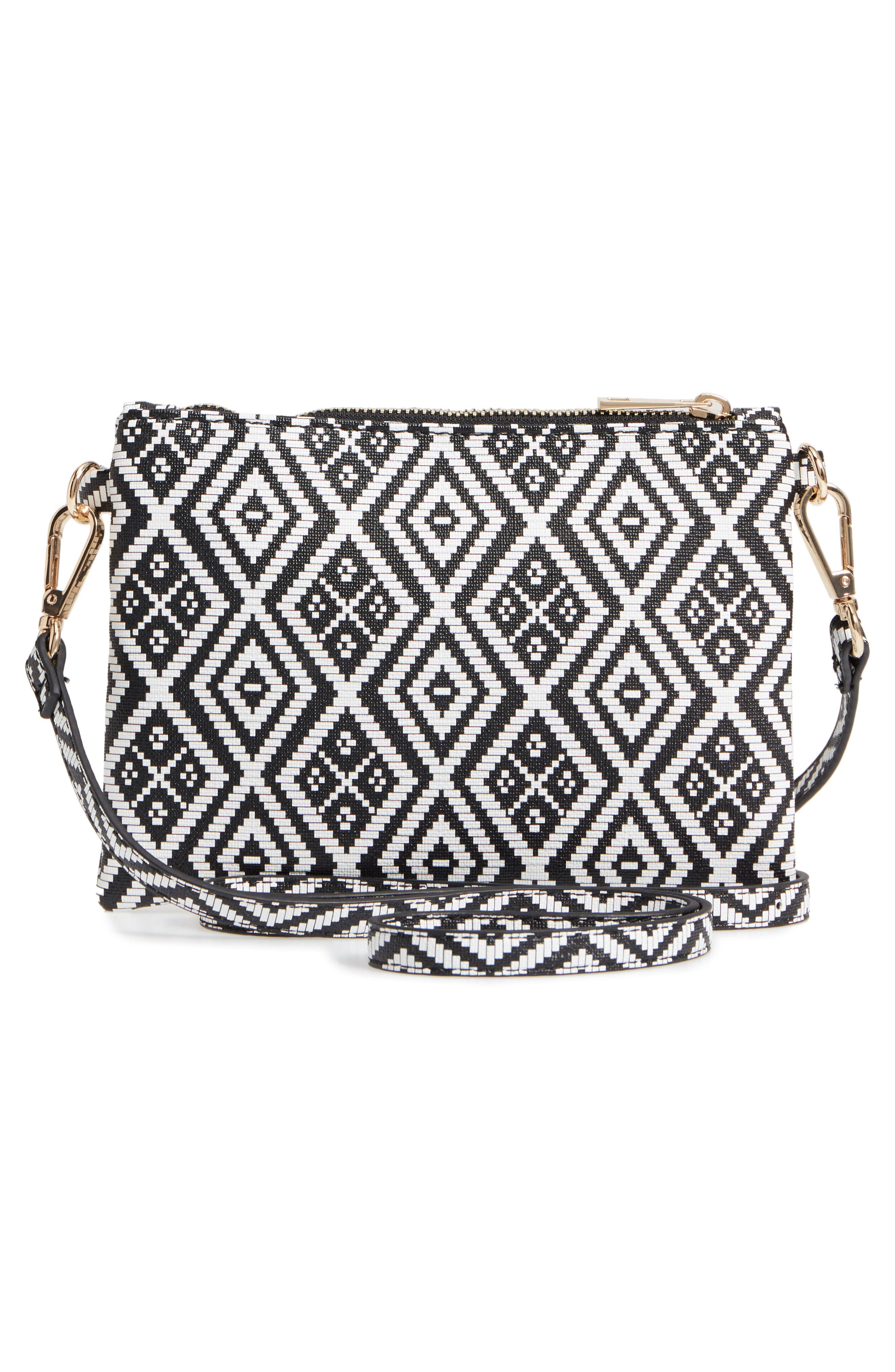 Weave Pattern Convertible Crossbody Wristlet,                             Alternate thumbnail 4, color,                             001