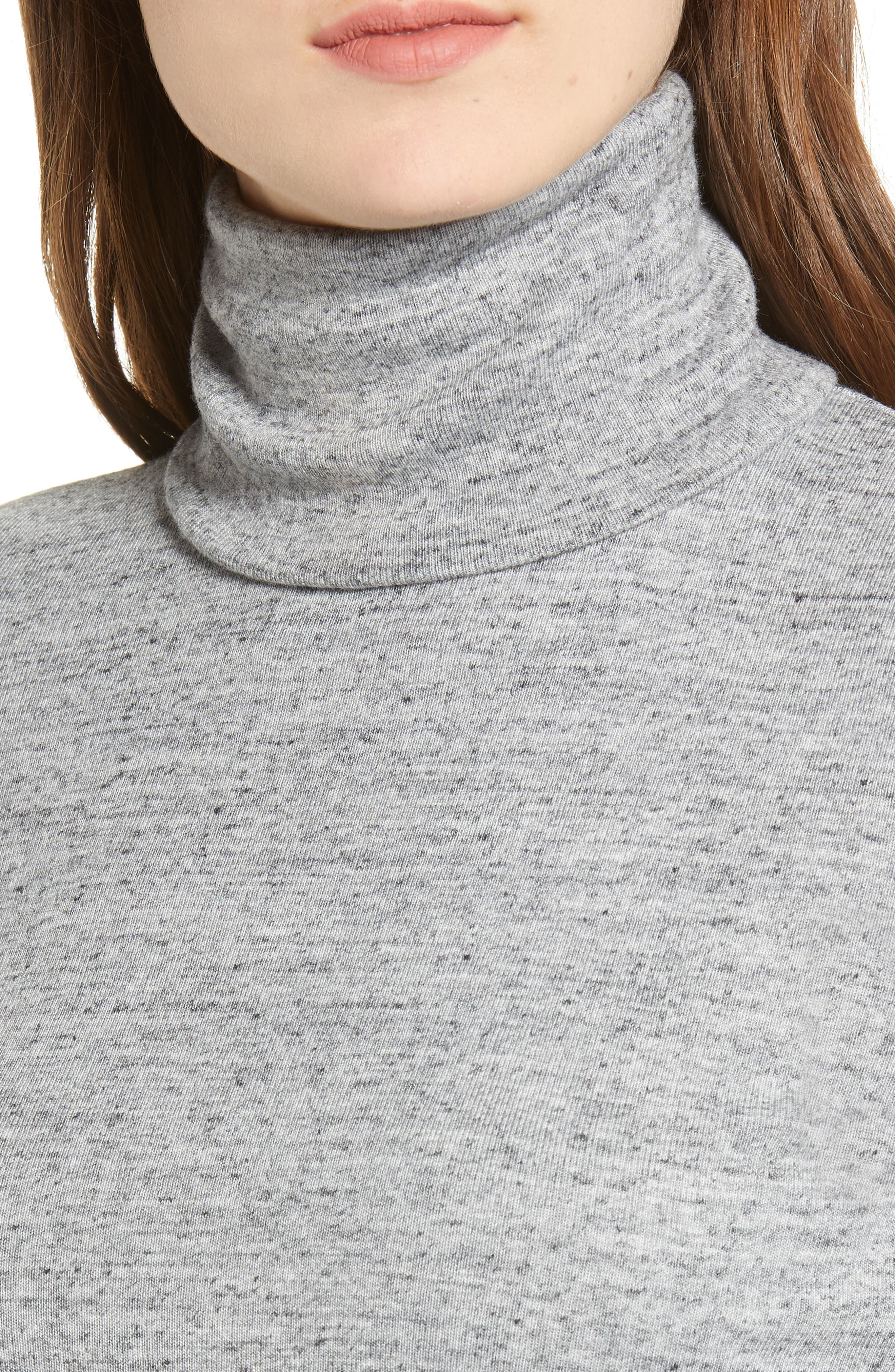 Ribbed Turtleneck,                             Alternate thumbnail 4, color,                             HEATHER GREY