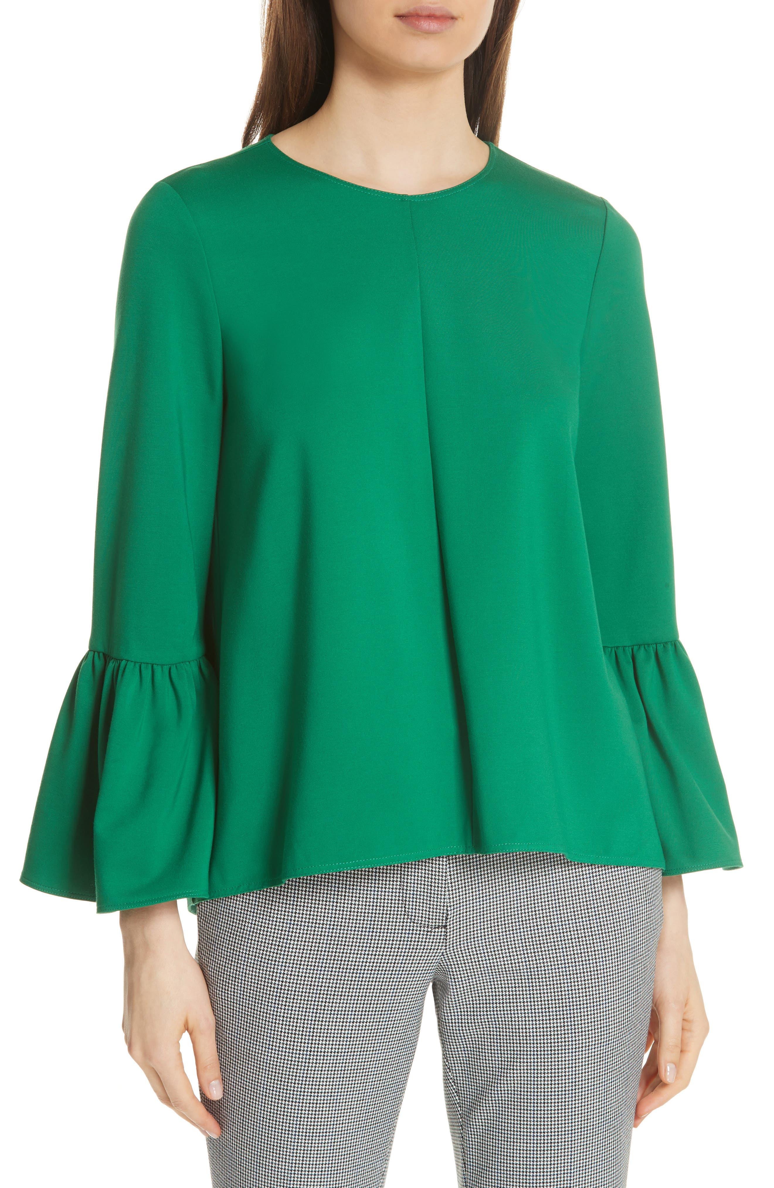 Weston Crewneck Bell-Sleeve Top in Green