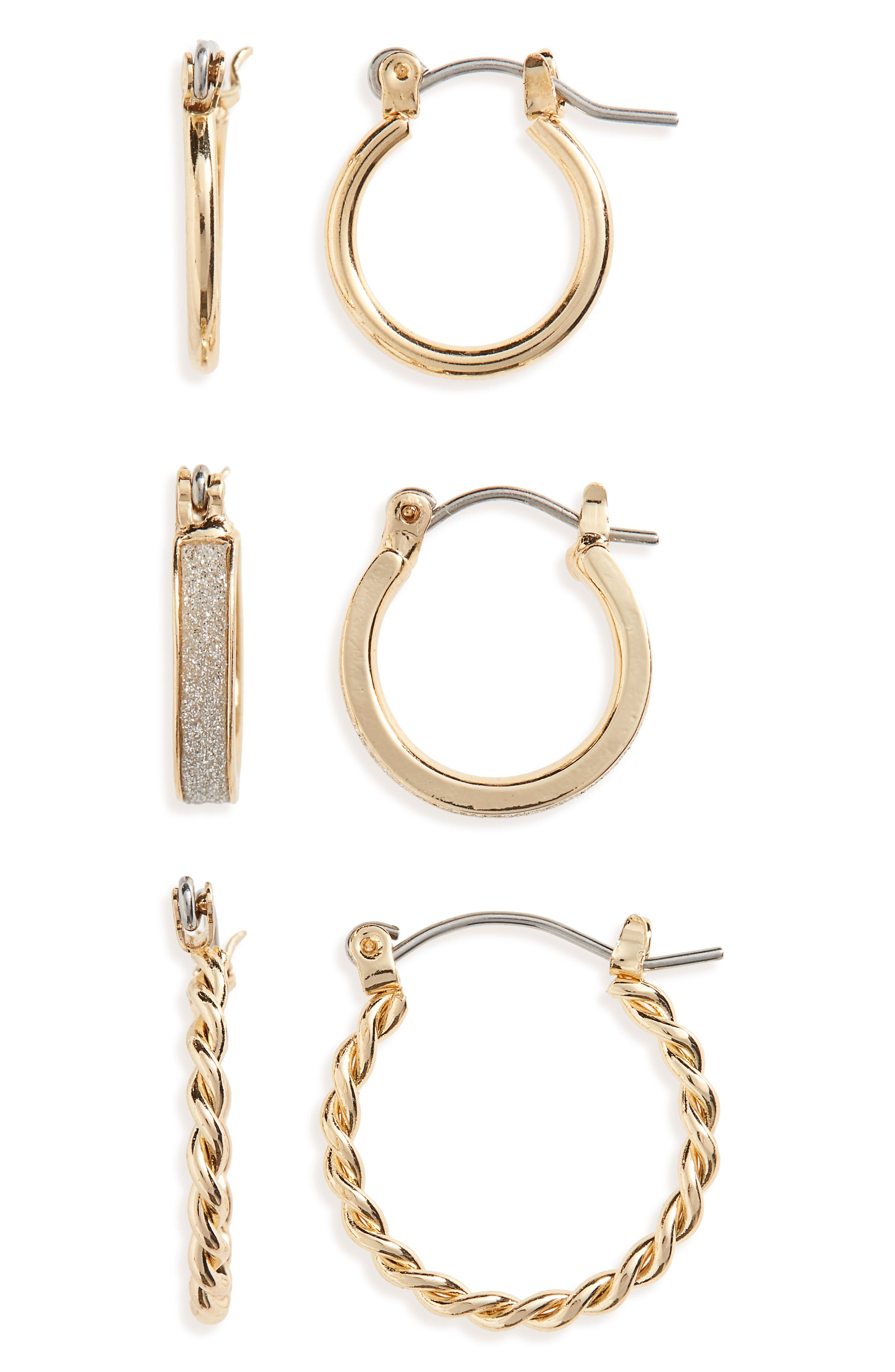 BP.,                             3-Pack Small Hoop Earrings,                             Main thumbnail 1, color,                             710
