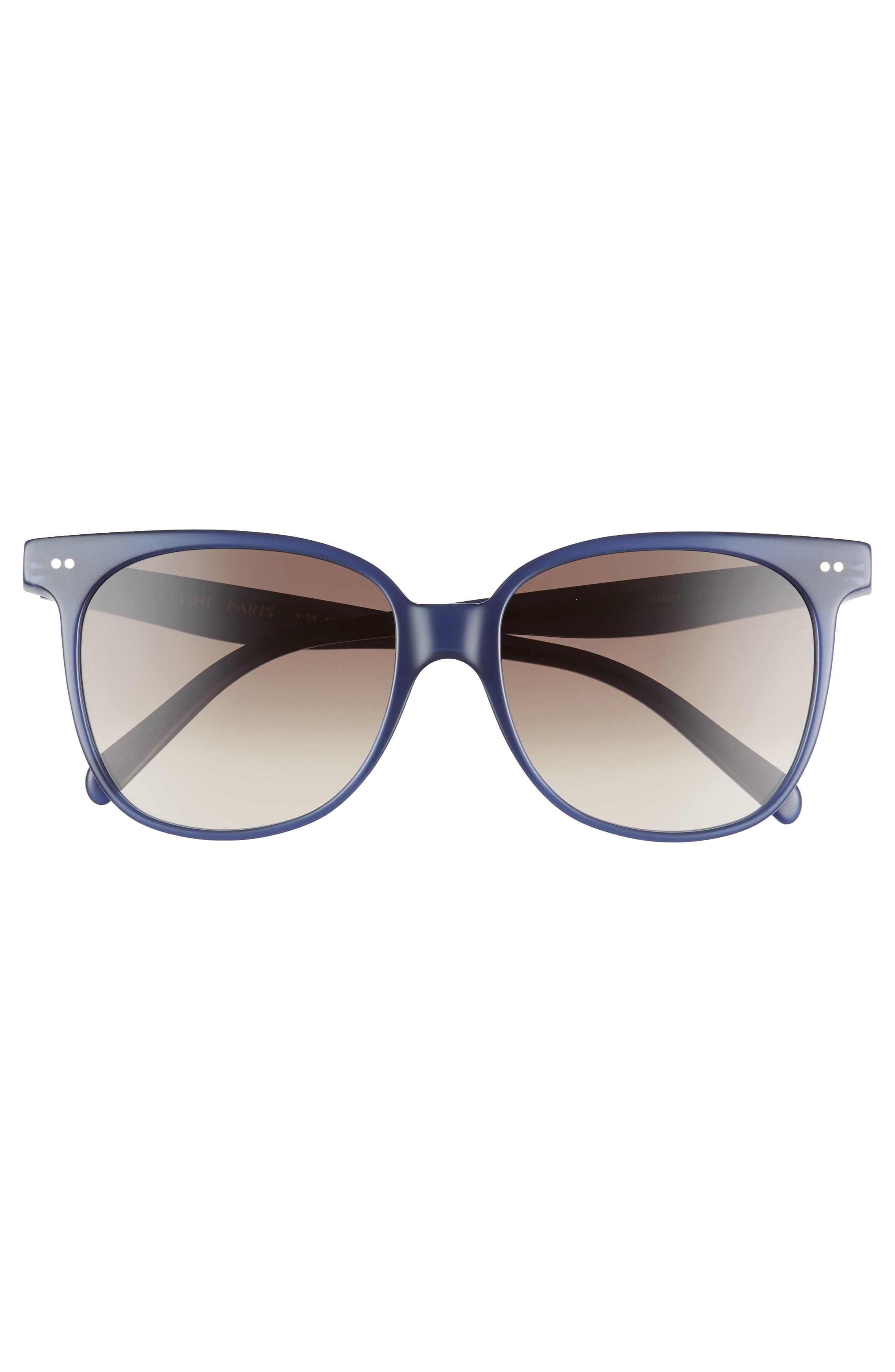 57mm Round Sunglasses,                             Alternate thumbnail 3, color,                             BLUE/ BROWN GRADIENT