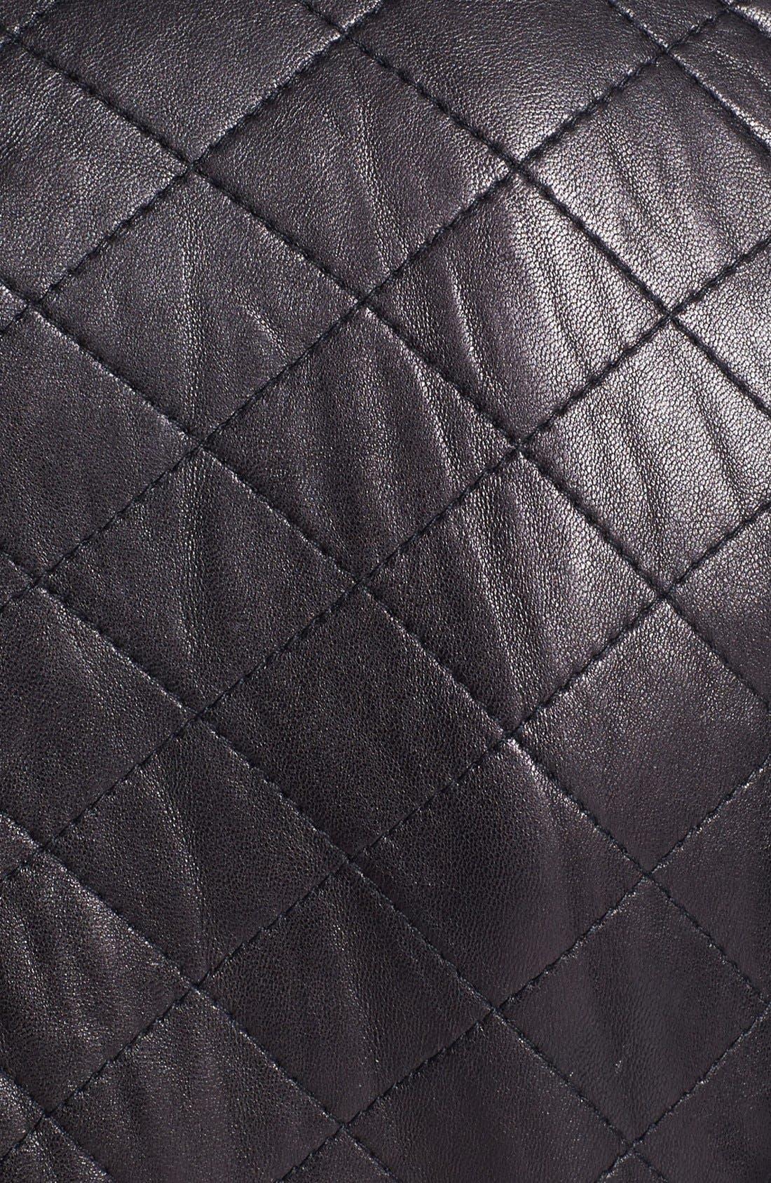 Shoulder Trim Quilted Leather Jacket,                             Alternate thumbnail 3, color,                             001