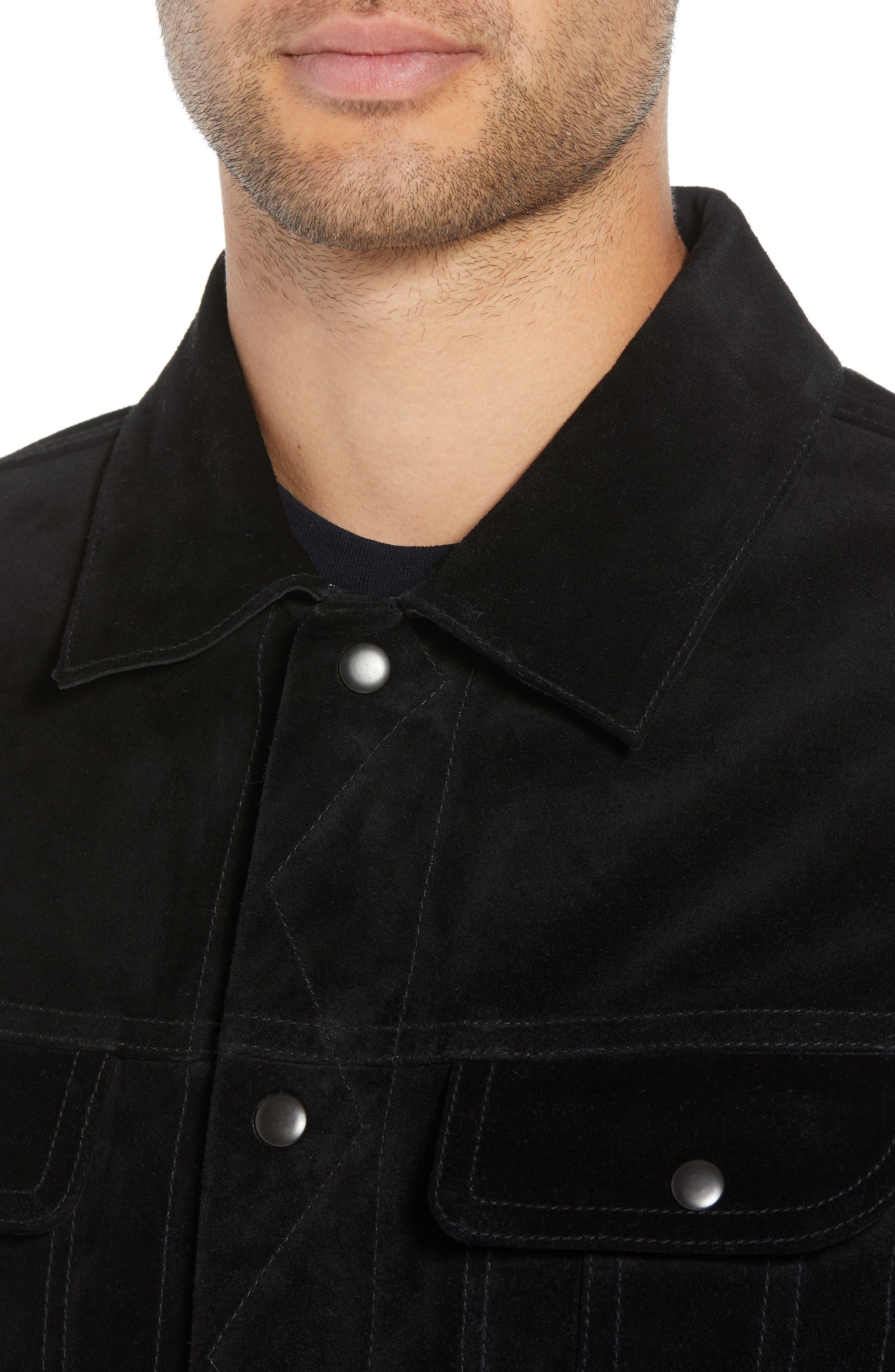 VINCE,                             Regular Fit Suede Trucker Jacket,                             Alternate thumbnail 4, color,                             001