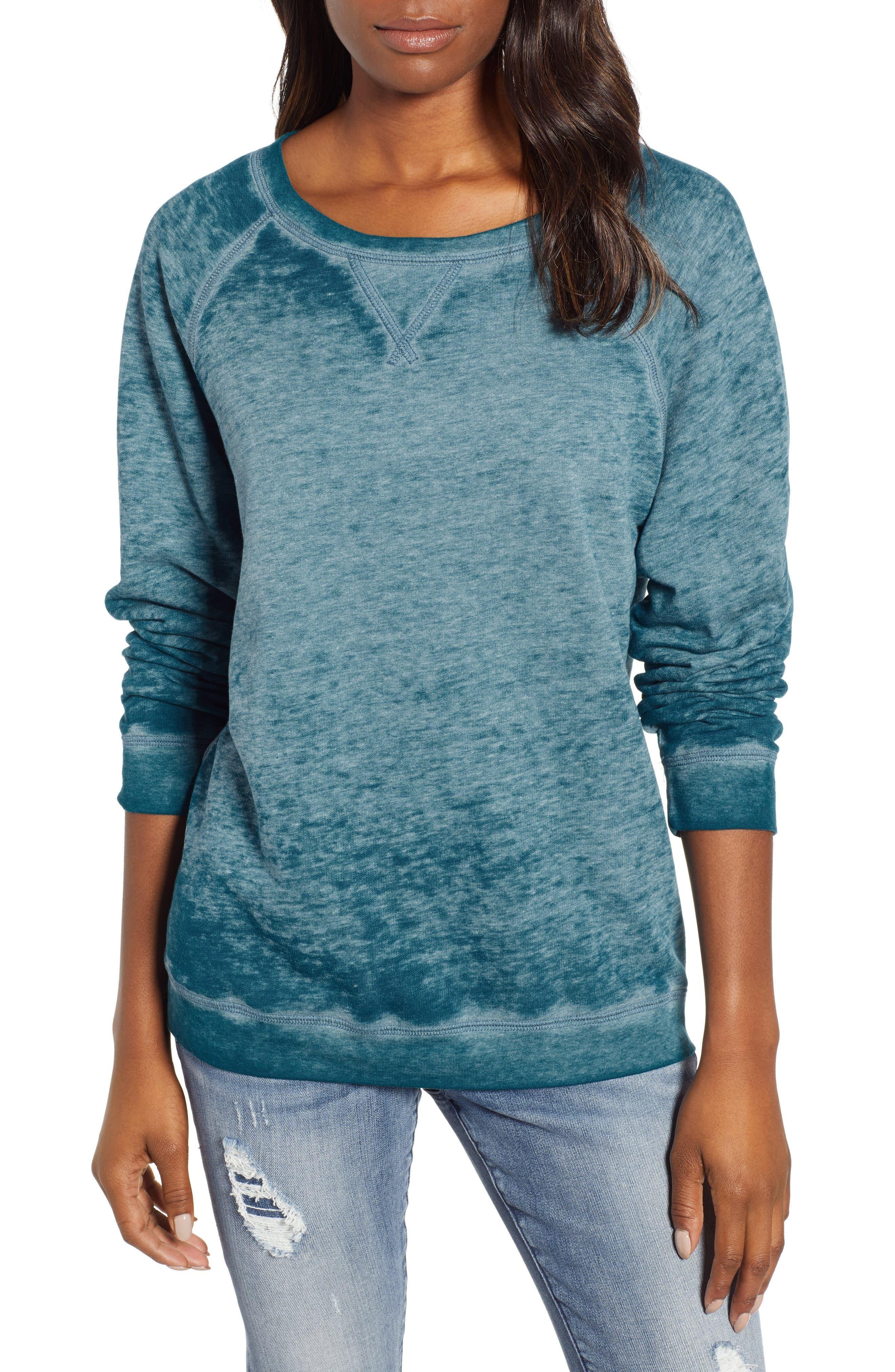 Burnout Sweatshirt,                             Main thumbnail 1, color,                             TEAL CORAL