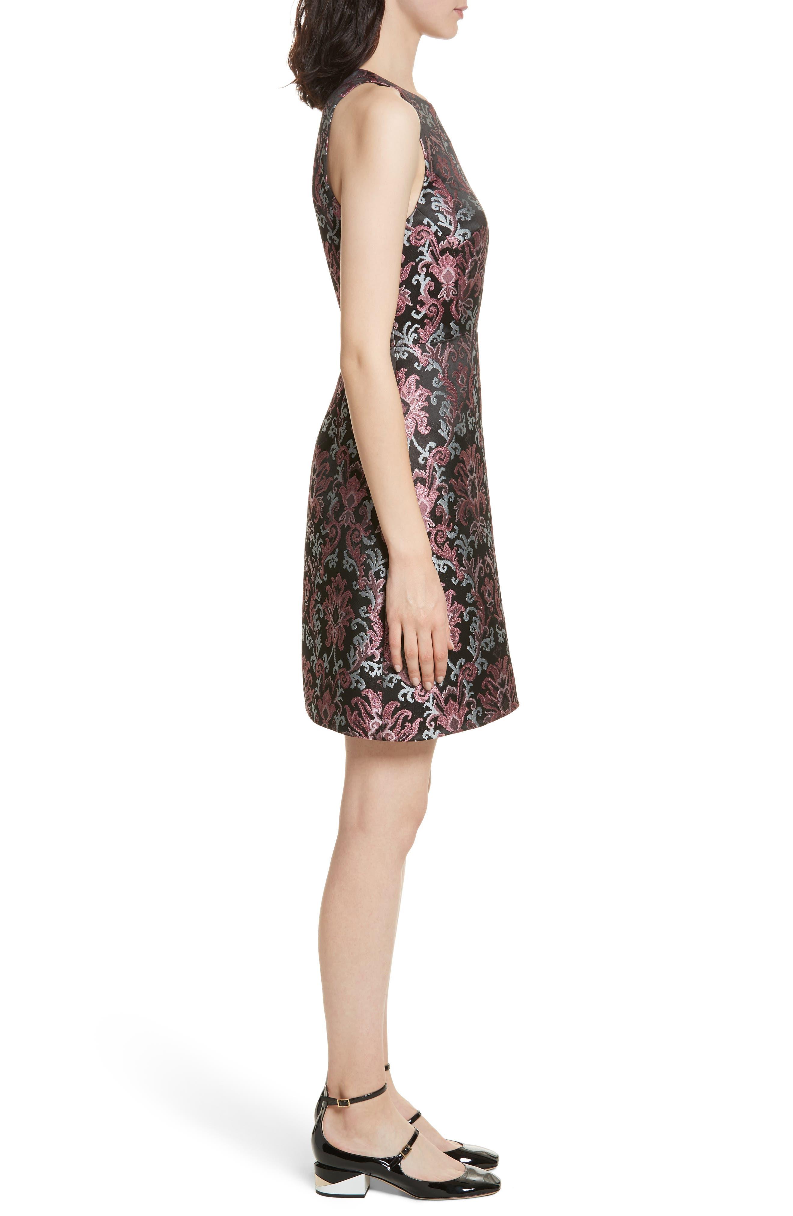 tapestry jacquard dress,                             Alternate thumbnail 3, color,                             004