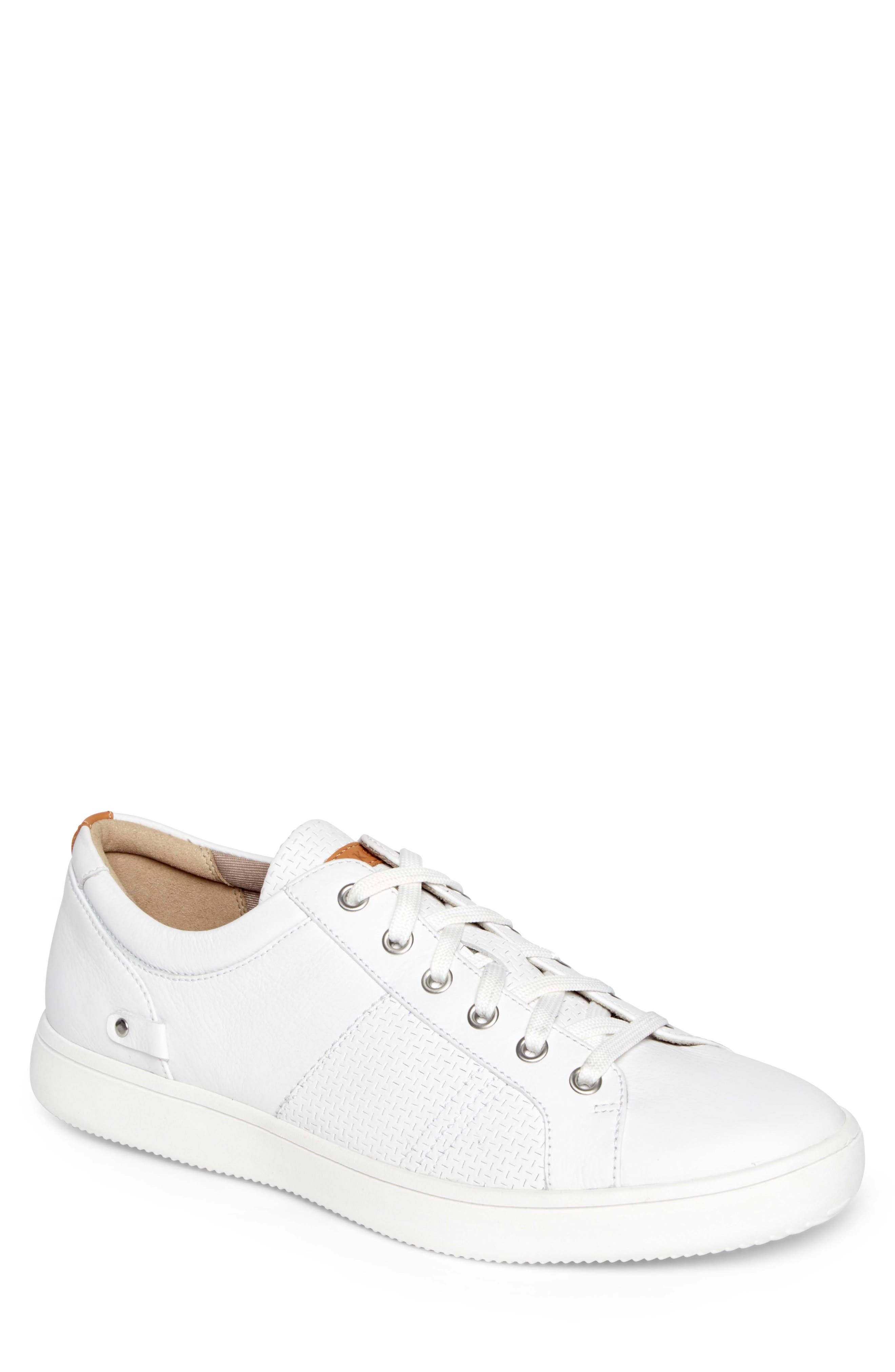 College Textured Sneaker,                             Main thumbnail 1, color,                             WHITE LEATHER