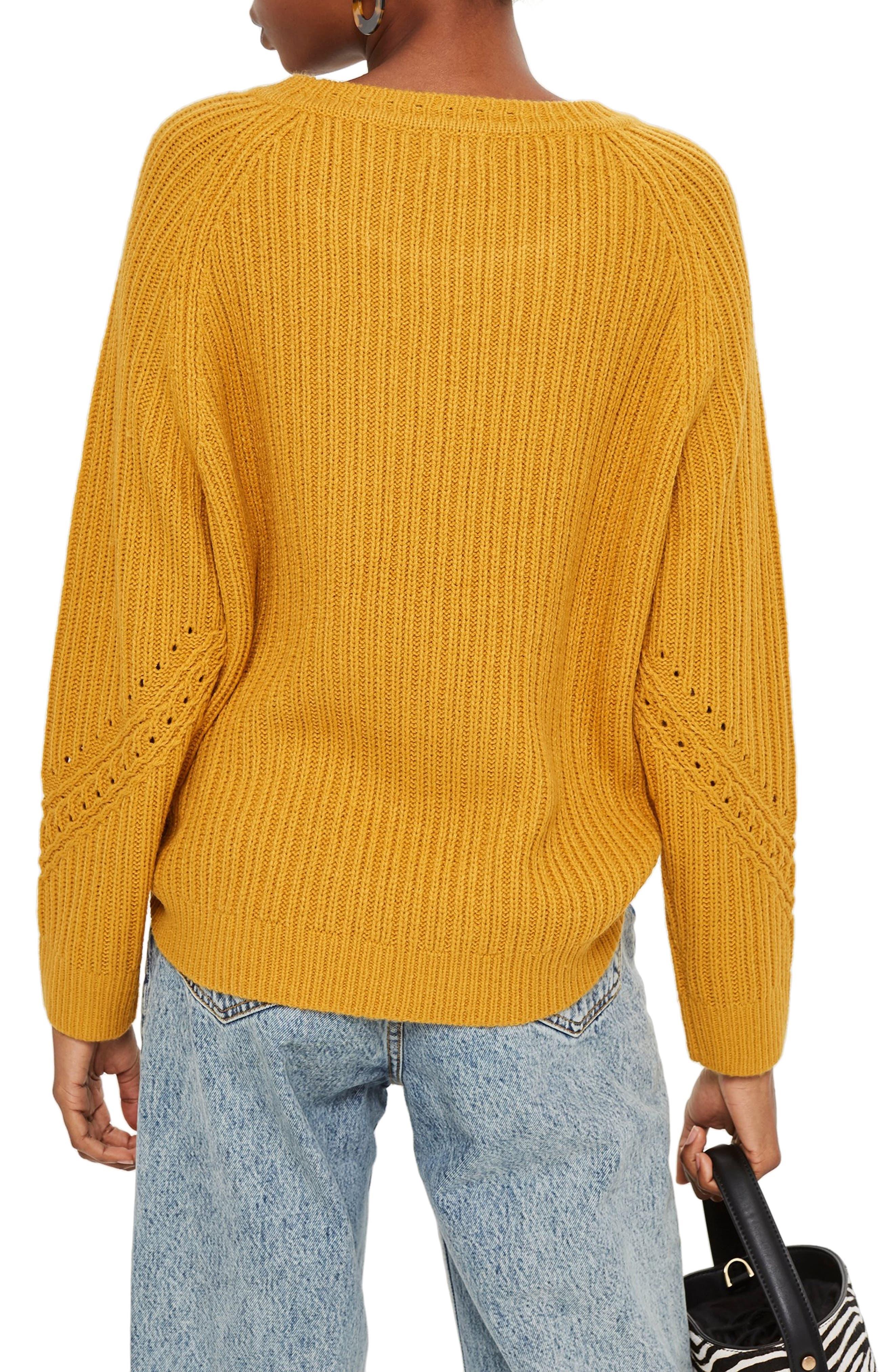 Rib & Pointelle Stitch Sweater,                             Alternate thumbnail 2, color,                             MUSTARD