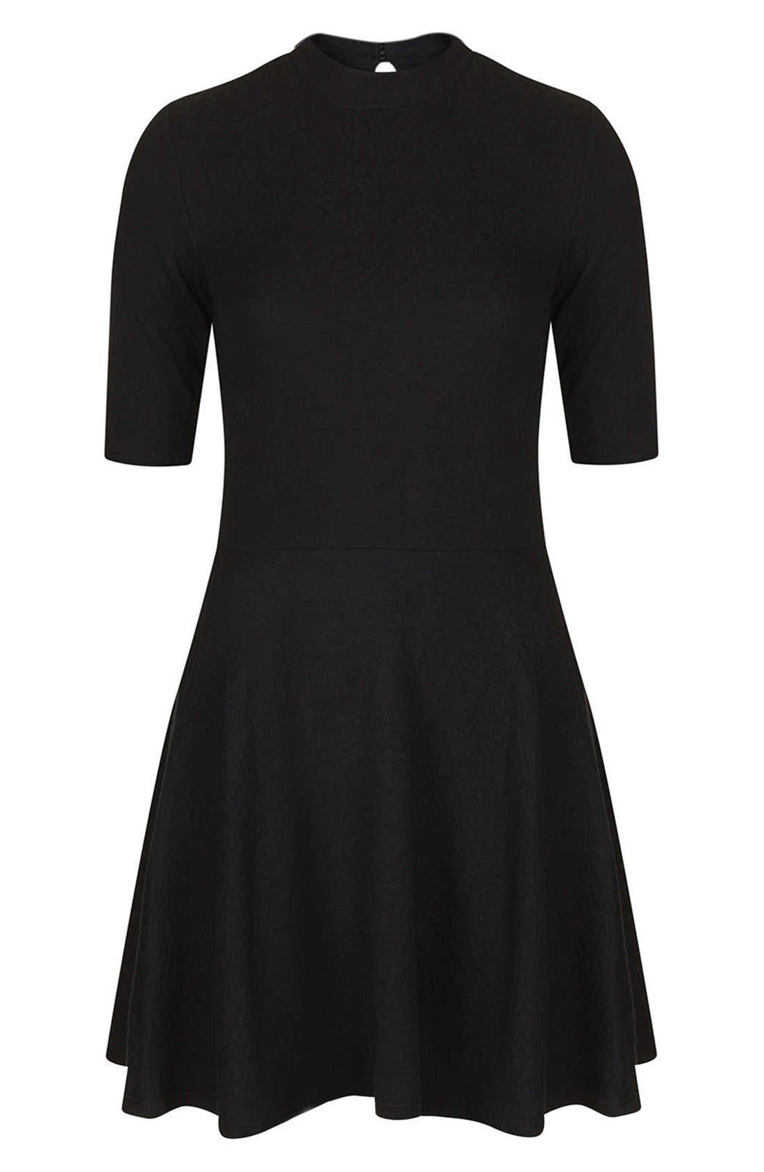 Mock Neck Textured Skater Dress,                             Alternate thumbnail 3, color,                             001