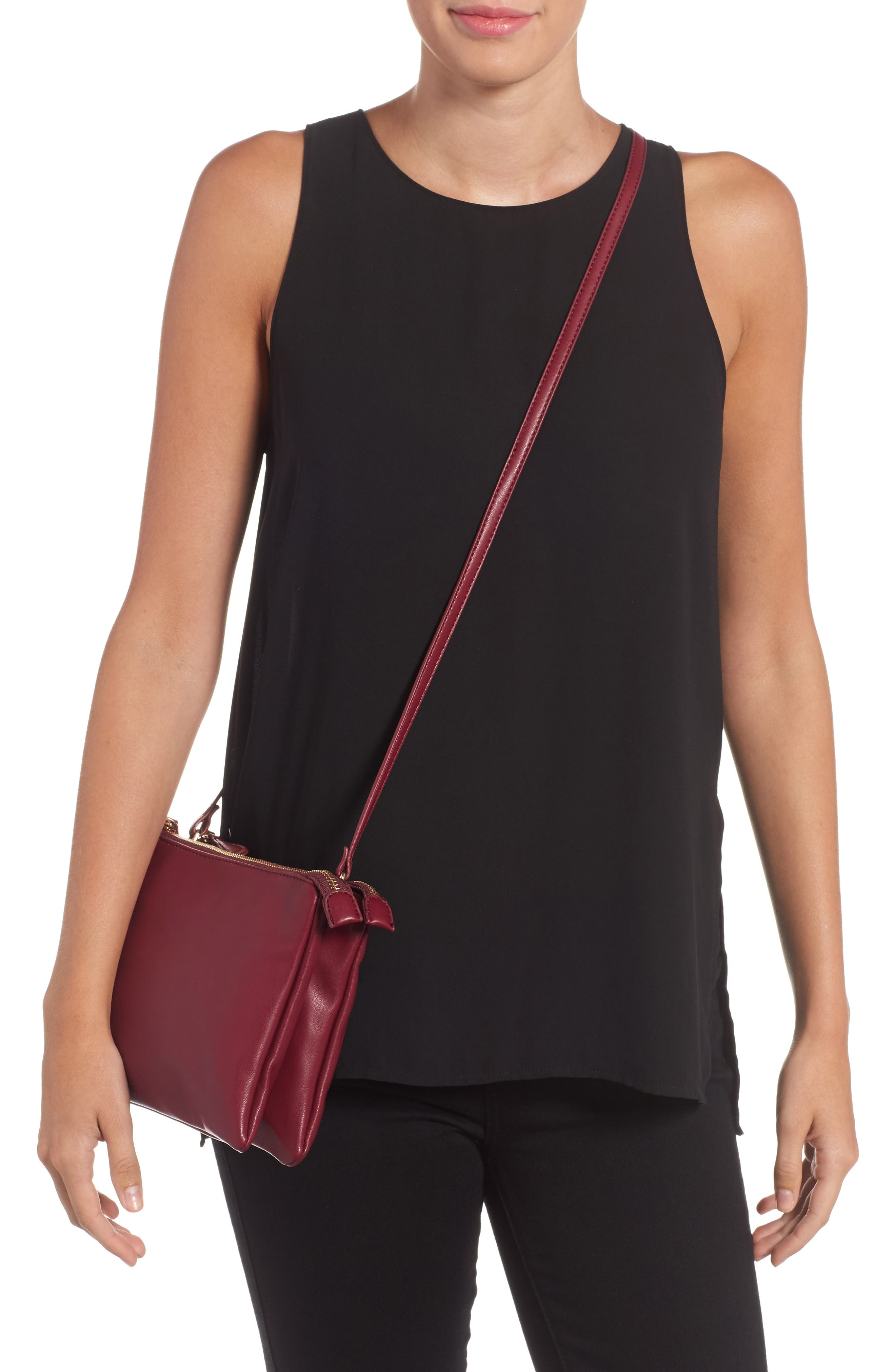 Madden Faux Leather Pouch Crossbody Bag,                             Alternate thumbnail 6, color,