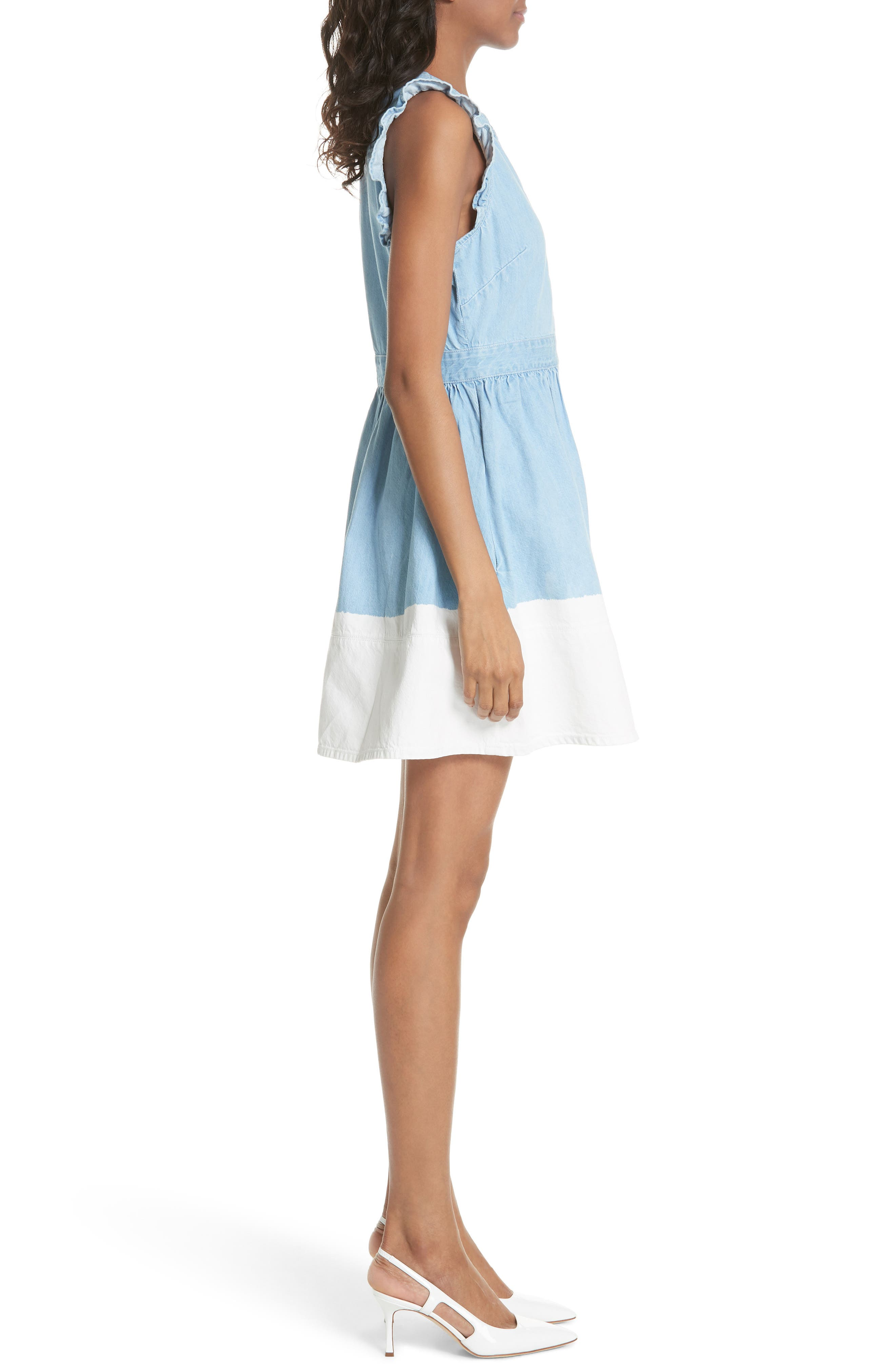 dip dye denim dress,                             Alternate thumbnail 3, color,                             429
