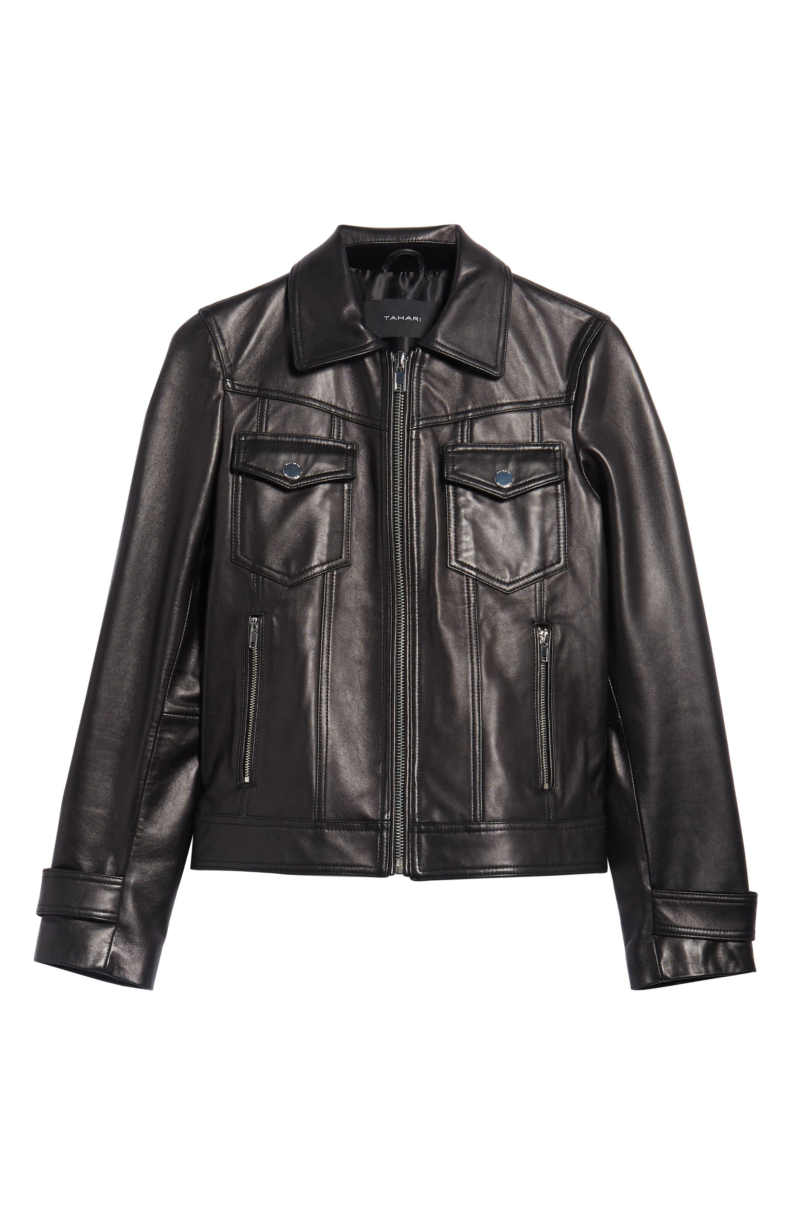 Esther Leather Trucker Jacket,                             Alternate thumbnail 6, color,                             BLACK