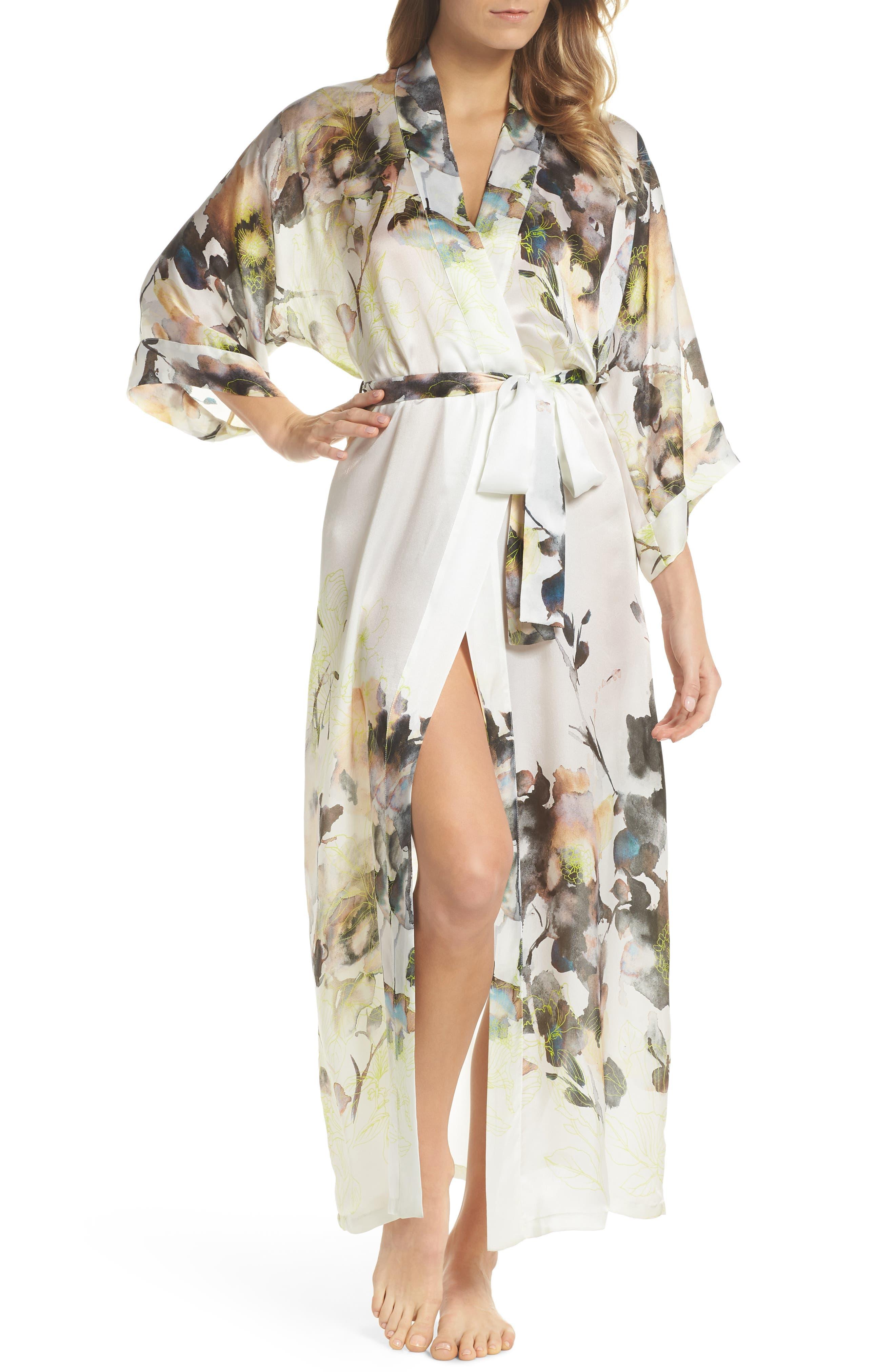Floral Print Silk Robe,                             Main thumbnail 1, color,                             LIMELIGHT PRINT