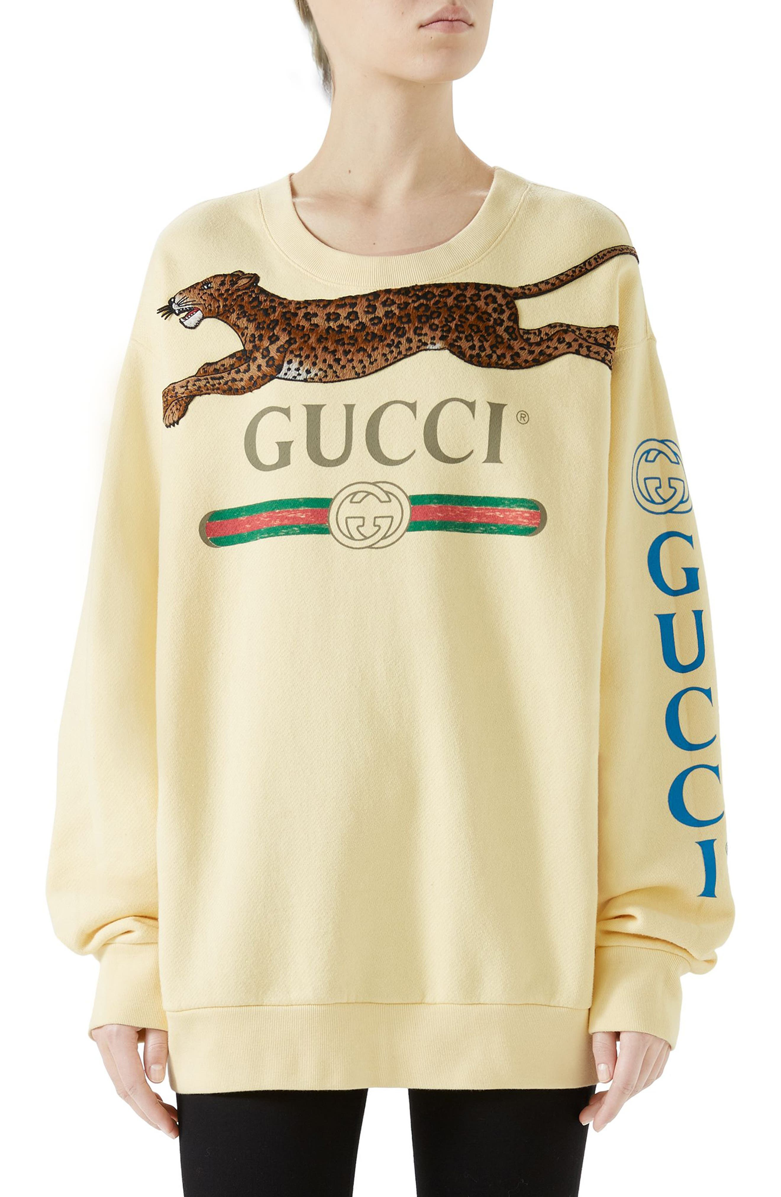 Leopard Detail Logo Sweatshirt,                         Main,                         color, YELLOW