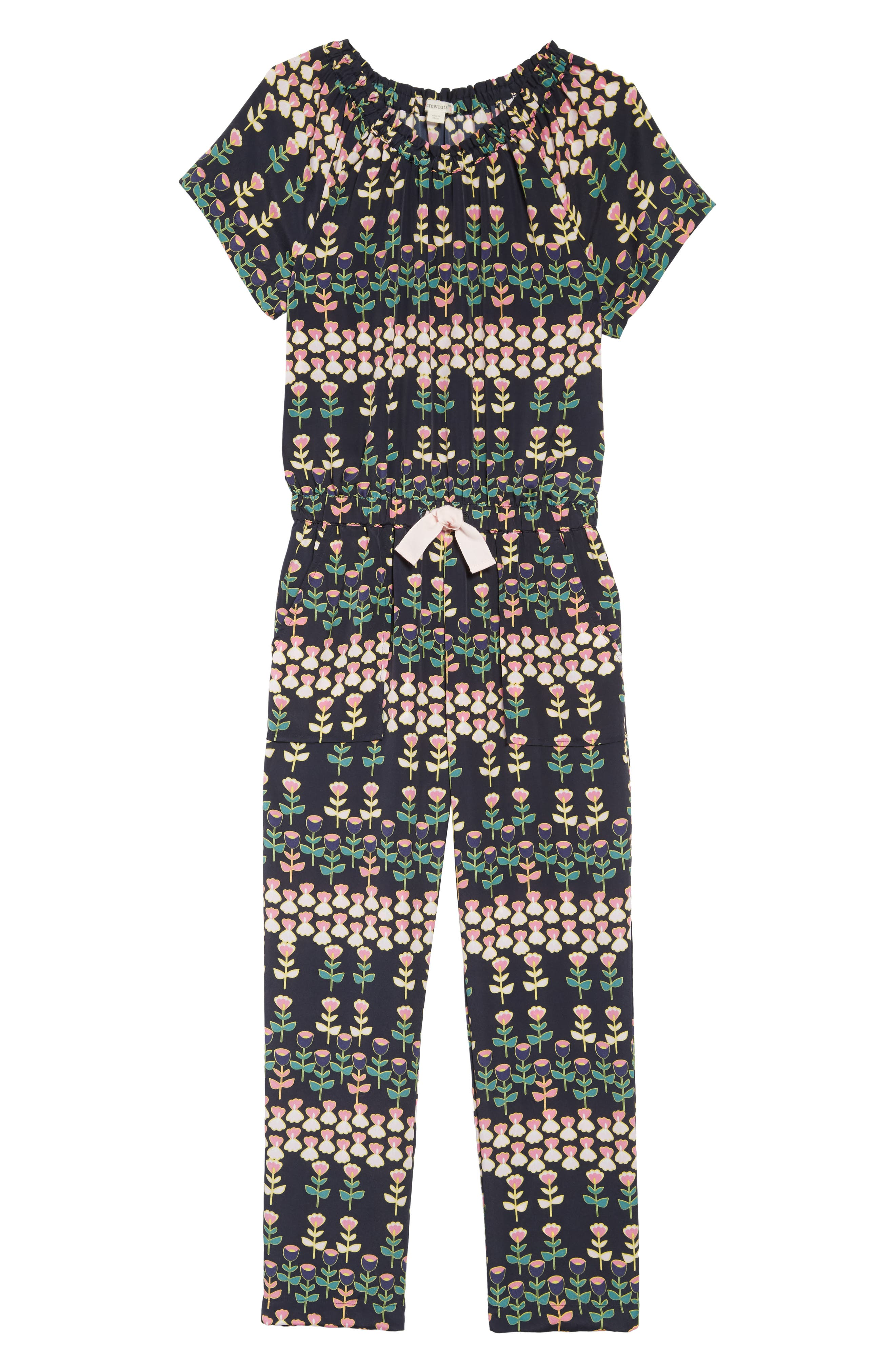 Toddler Girls Crewcuts By Jcrew Naomi Floral Print Jumpsuit Size 2T  Grey