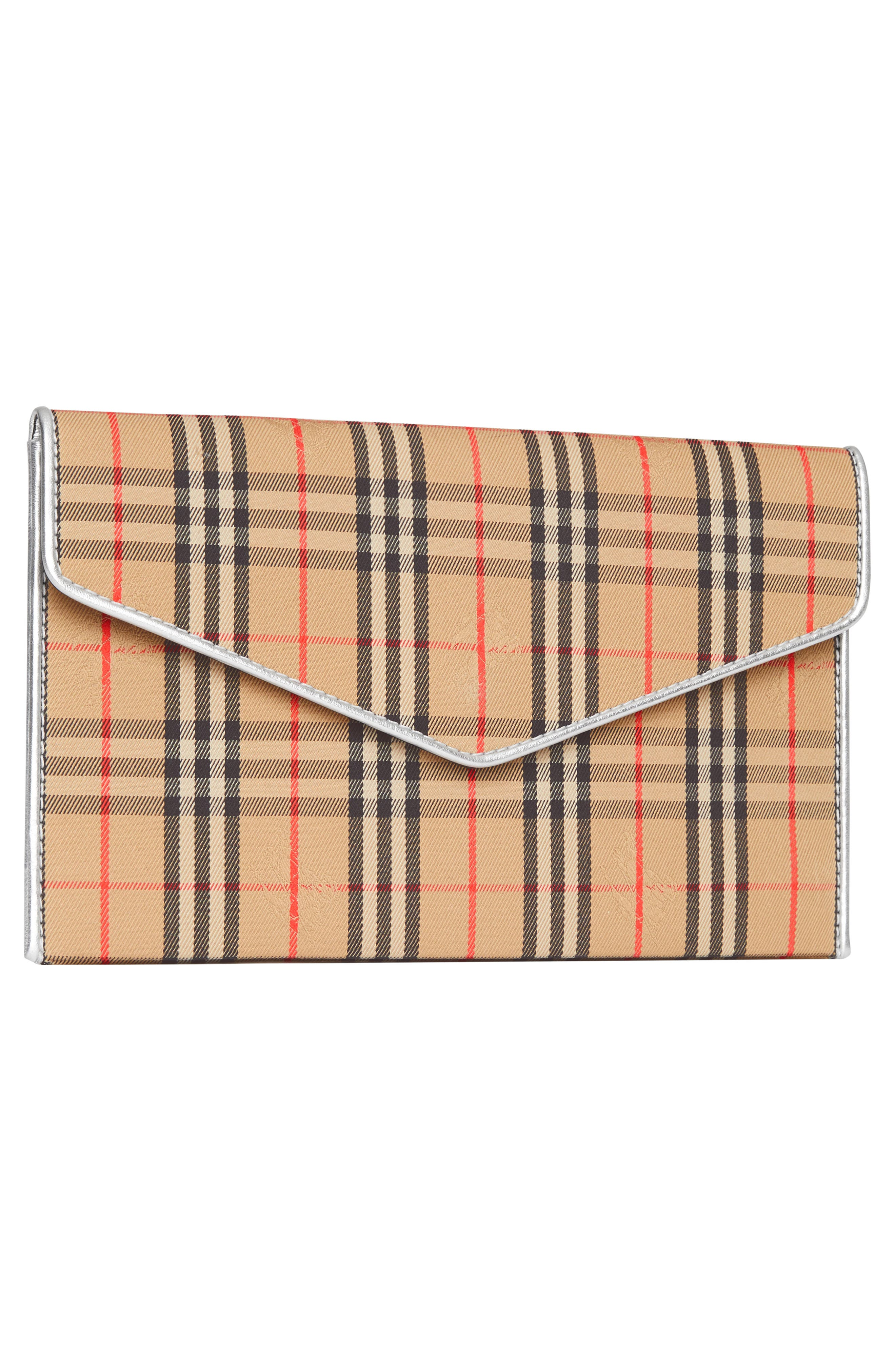 1983 Check Cotton & Leather Envelope Clutch,                             Alternate thumbnail 5, color,                             ANTIQUE YELLOW/ SILVER