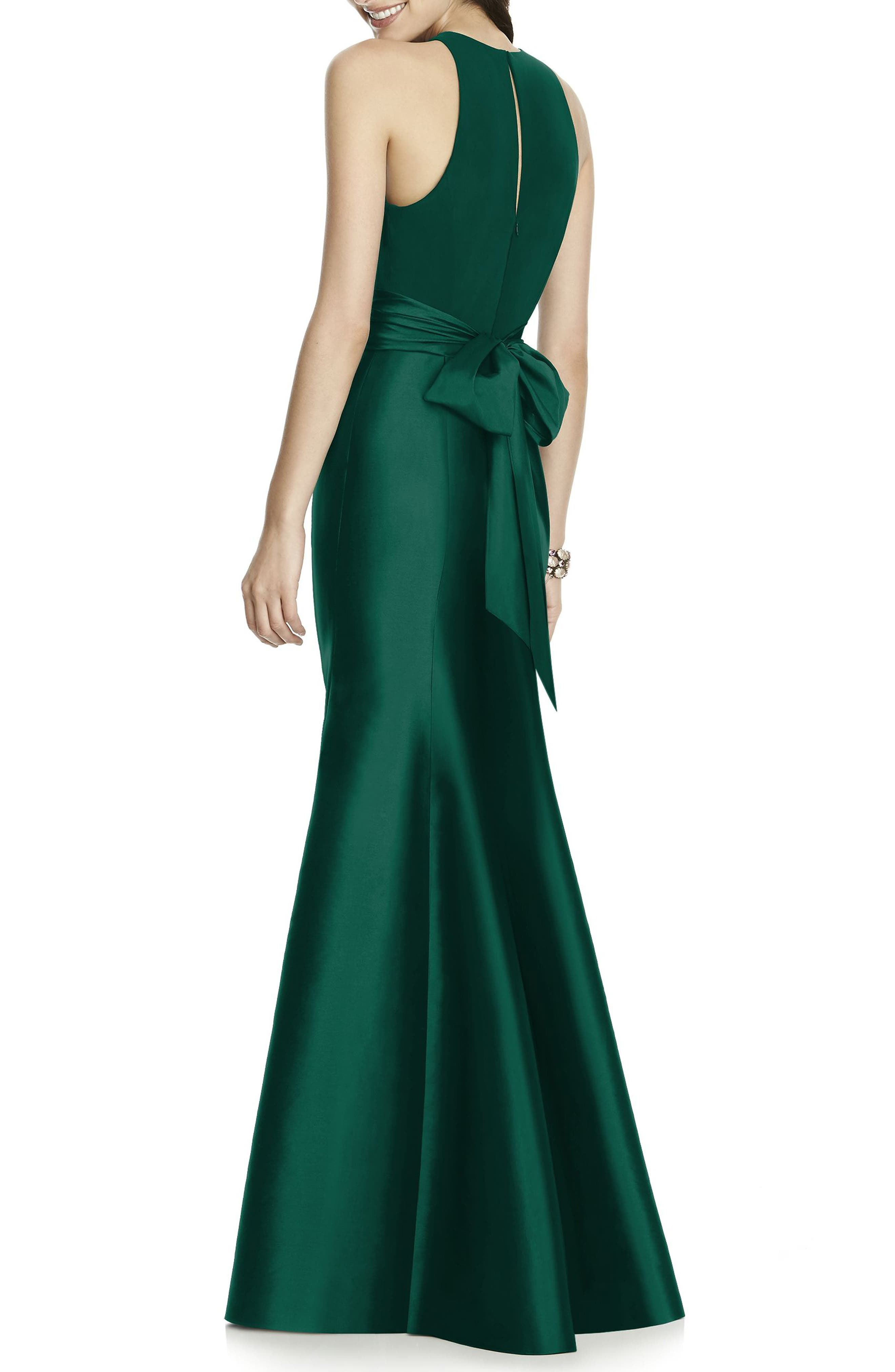 Mikado Jersey Bodice Trumpet Gown,                             Alternate thumbnail 2, color,                             HUNTER