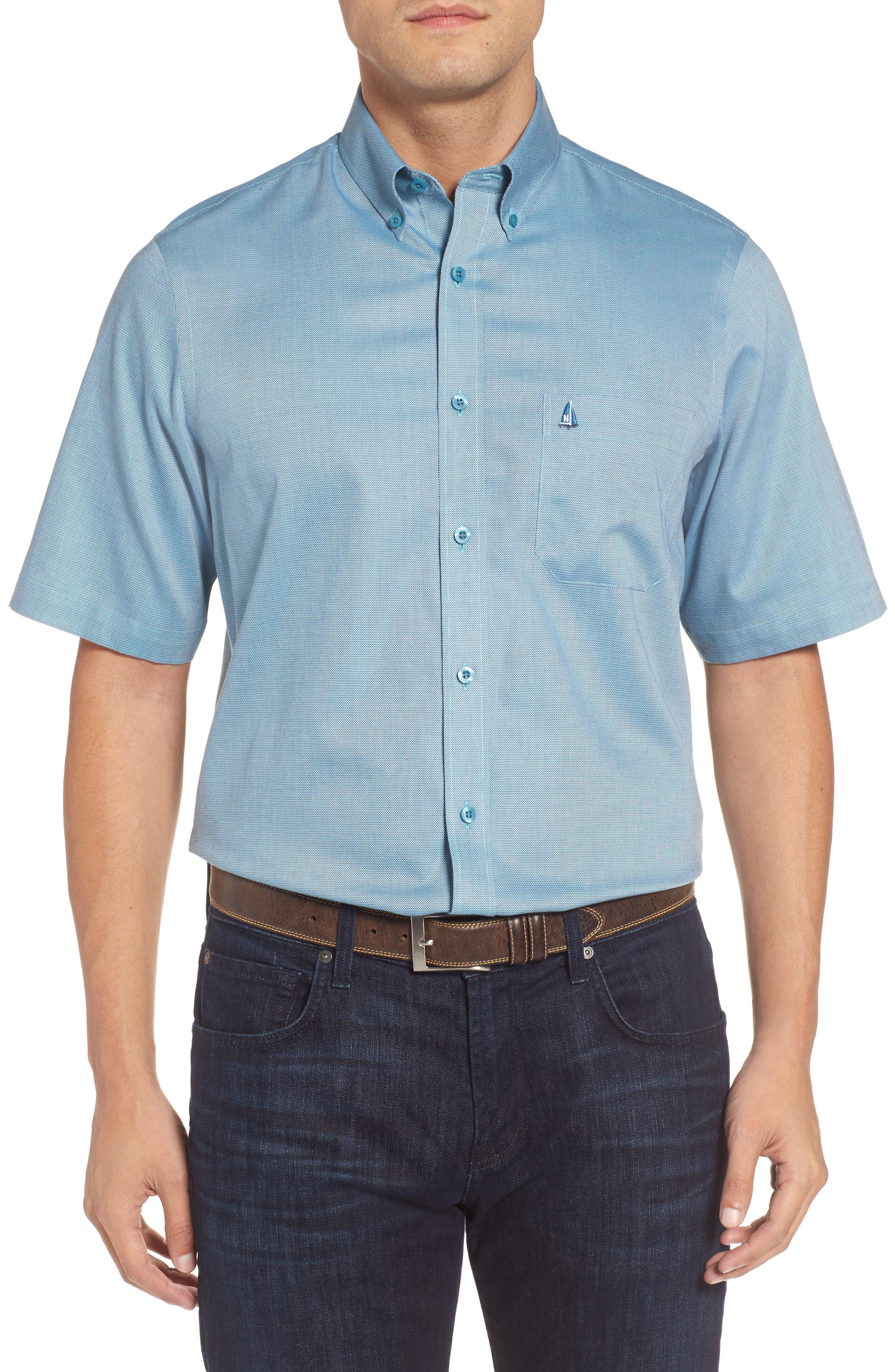 'Classic' Smartcare<sup>™</sup> Regular Fit Short Sleeve Cotton Sport Shirt,                             Alternate thumbnail 35, color,