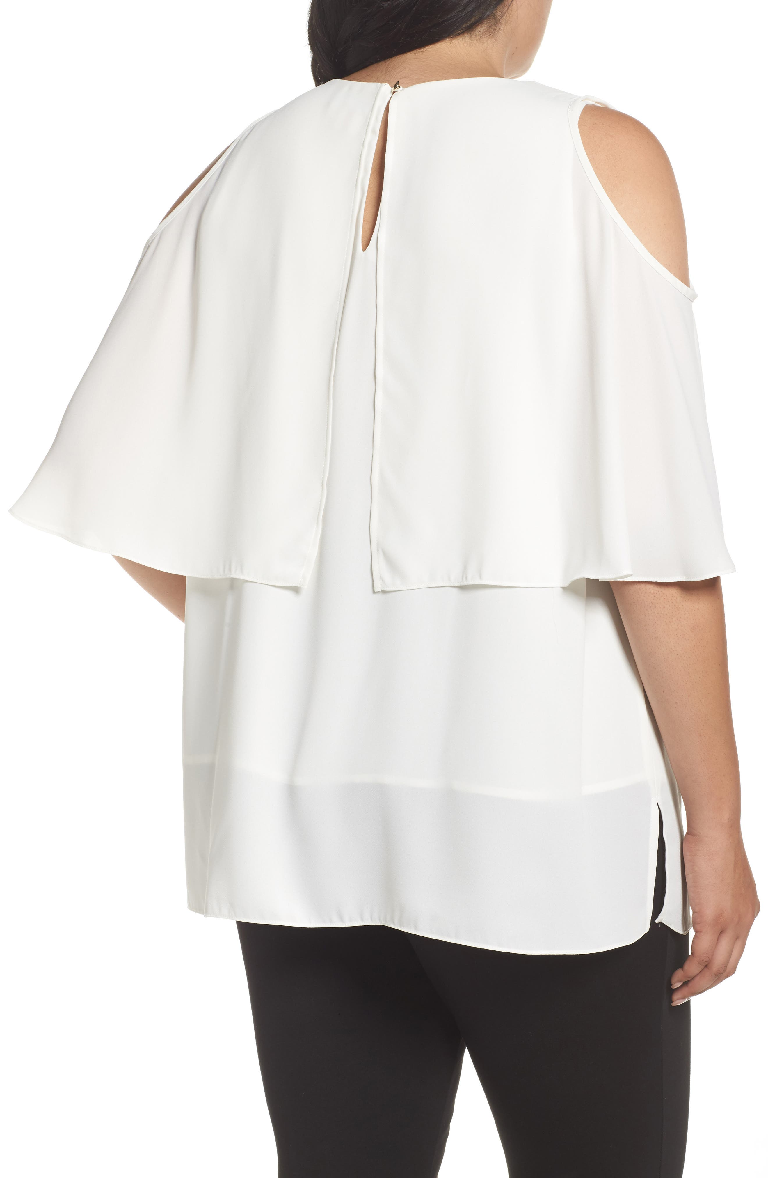 Cold Shoulder Ruffled Blouse,                             Alternate thumbnail 6, color,