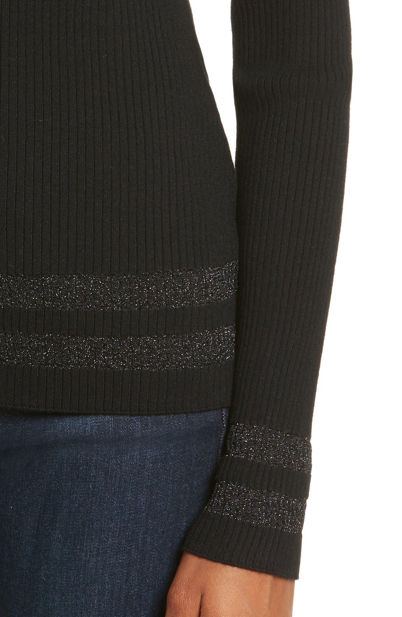 Metallic Knit Sweater,                             Alternate thumbnail 4, color,