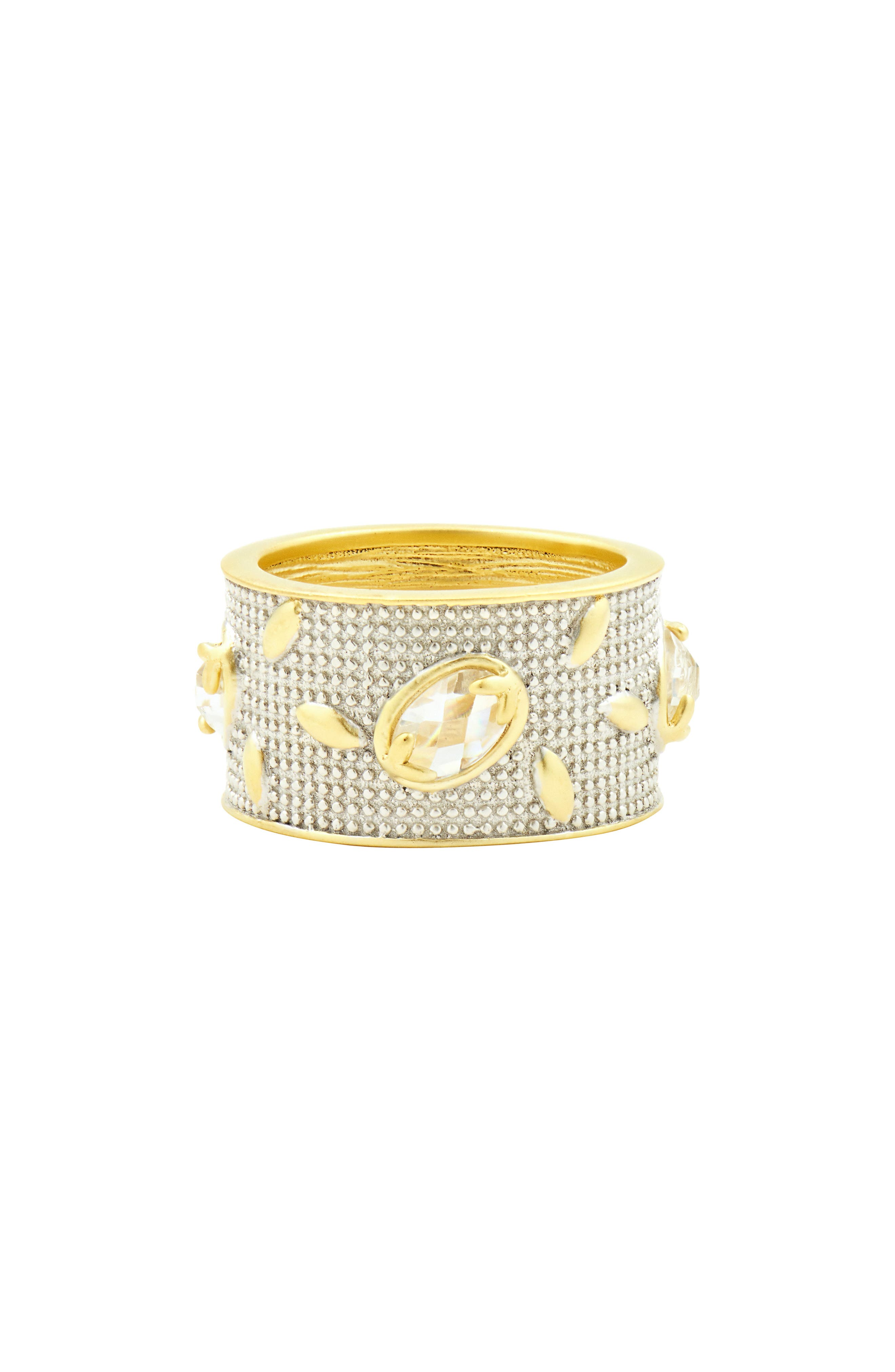 Fleur Bloom Wide Band Ring,                         Main,                         color, SILVER AND GOLD