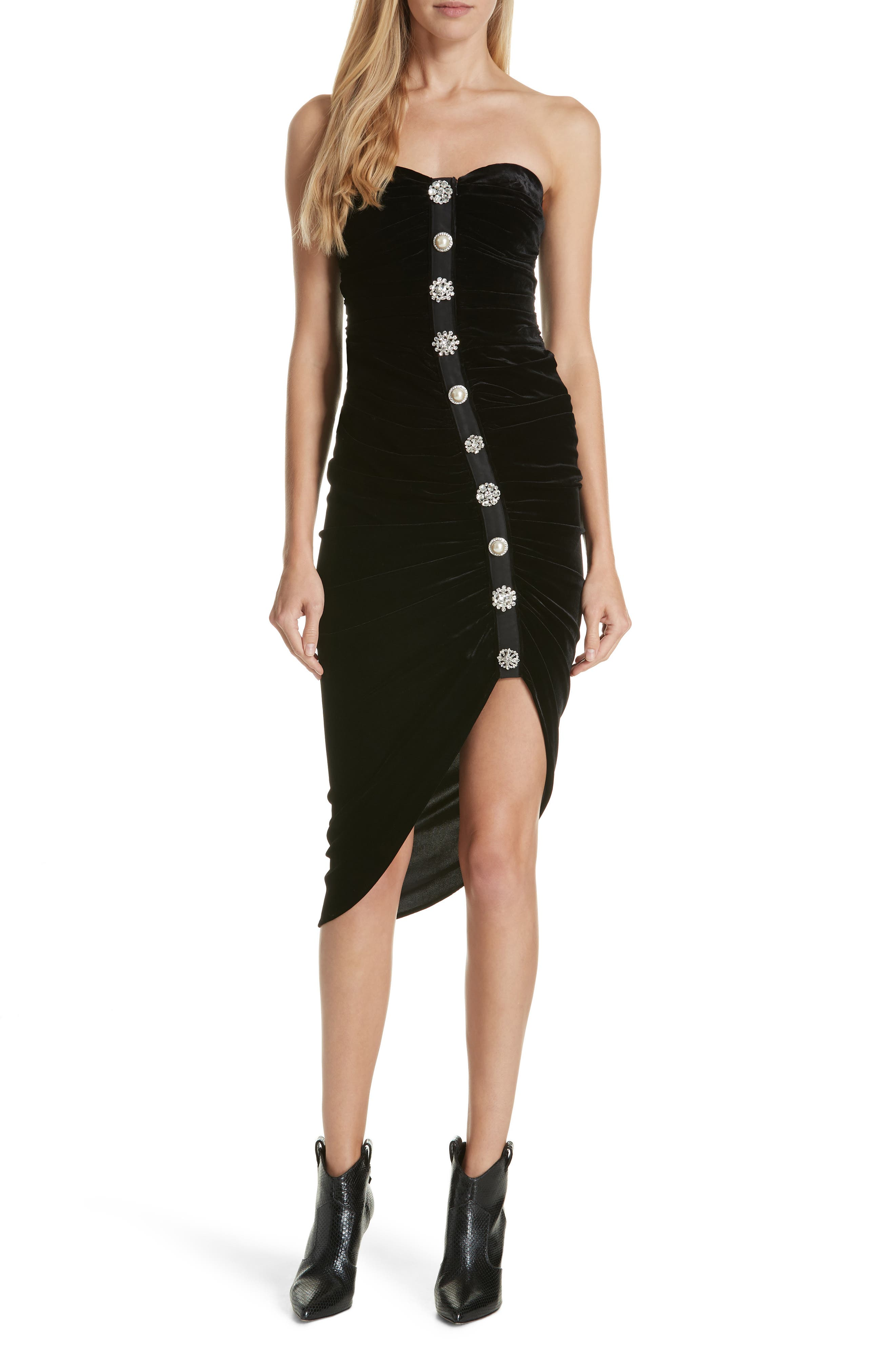 Palo Strapless Velvet Dress,                             Main thumbnail 1, color,                             BLACK