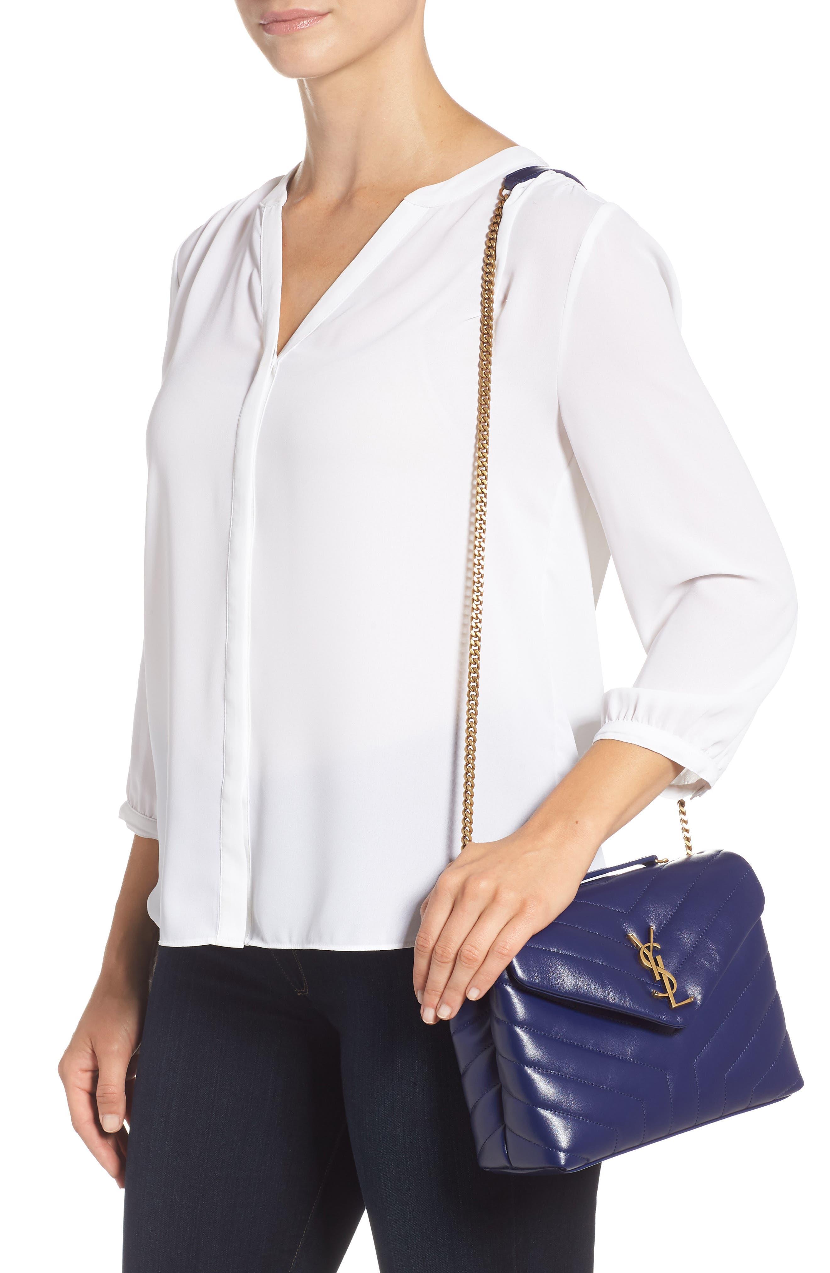 Small Loulou Leather Shoulder Bag,                             Alternate thumbnail 2, color,                             SAPHIR