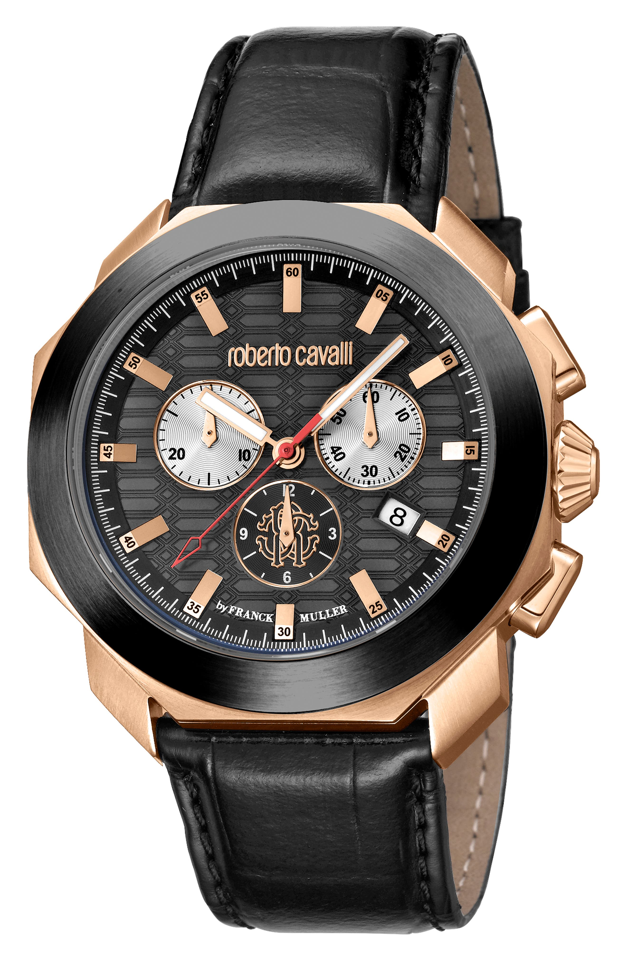 Sport Chronograph Leather Strap Watch,                             Main thumbnail 1, color,                             BLACK/ ROSE GOLD/ BLACK