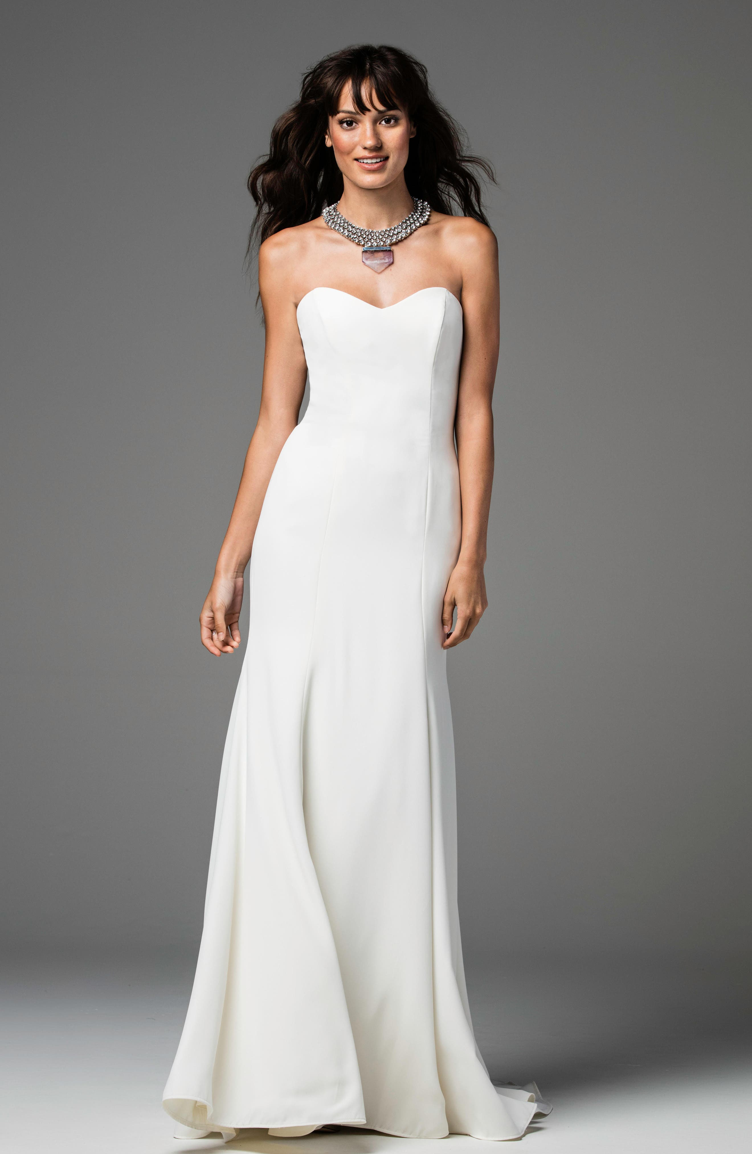 Caspia Strapless Georgette Fit & Flare Gown,                             Alternate thumbnail 3, color,                             IVORY/IVORY