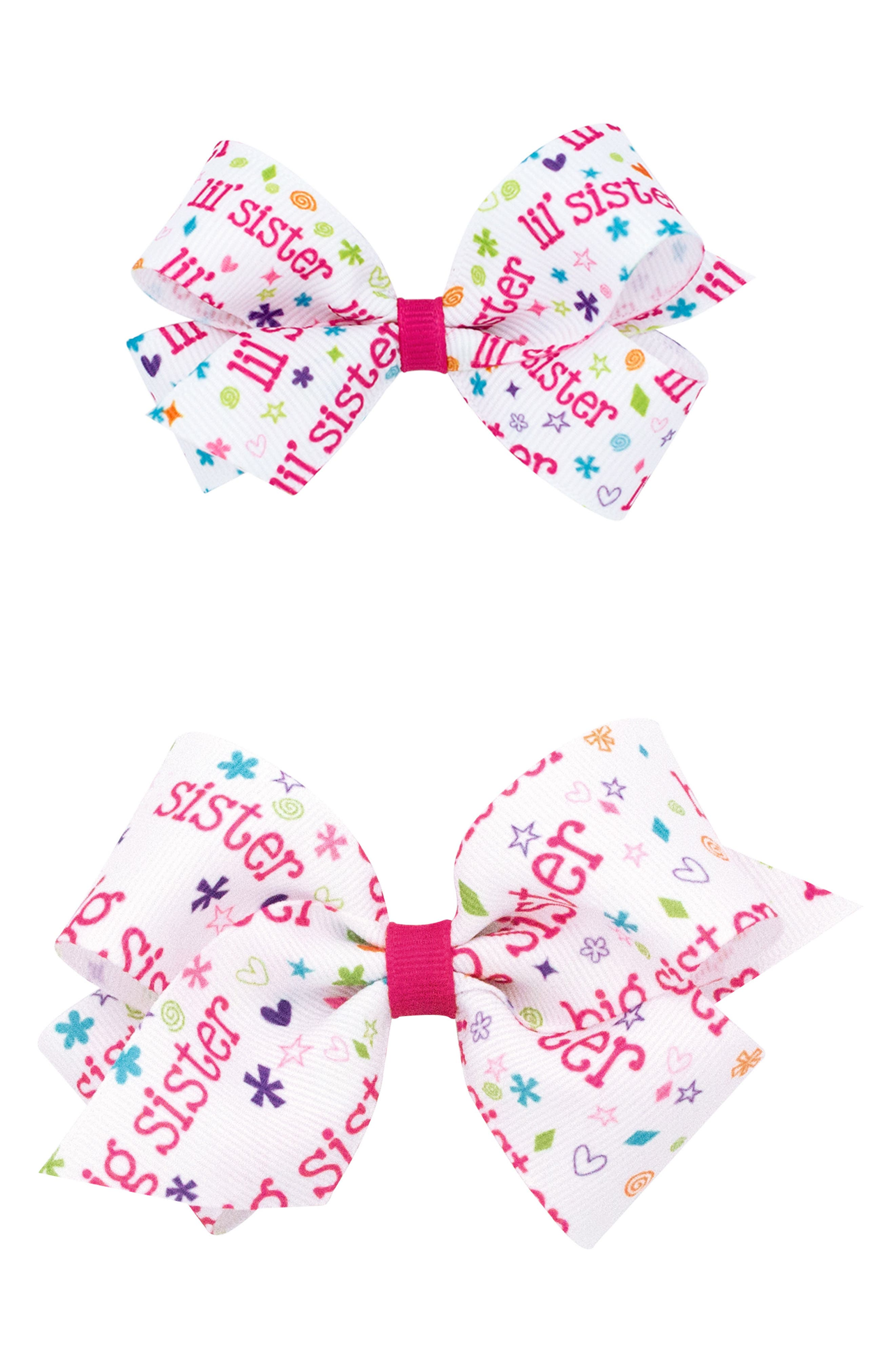 Big and Lil Sister 2-Pack Hair Clips,                         Main,                         color, HOT PINK
