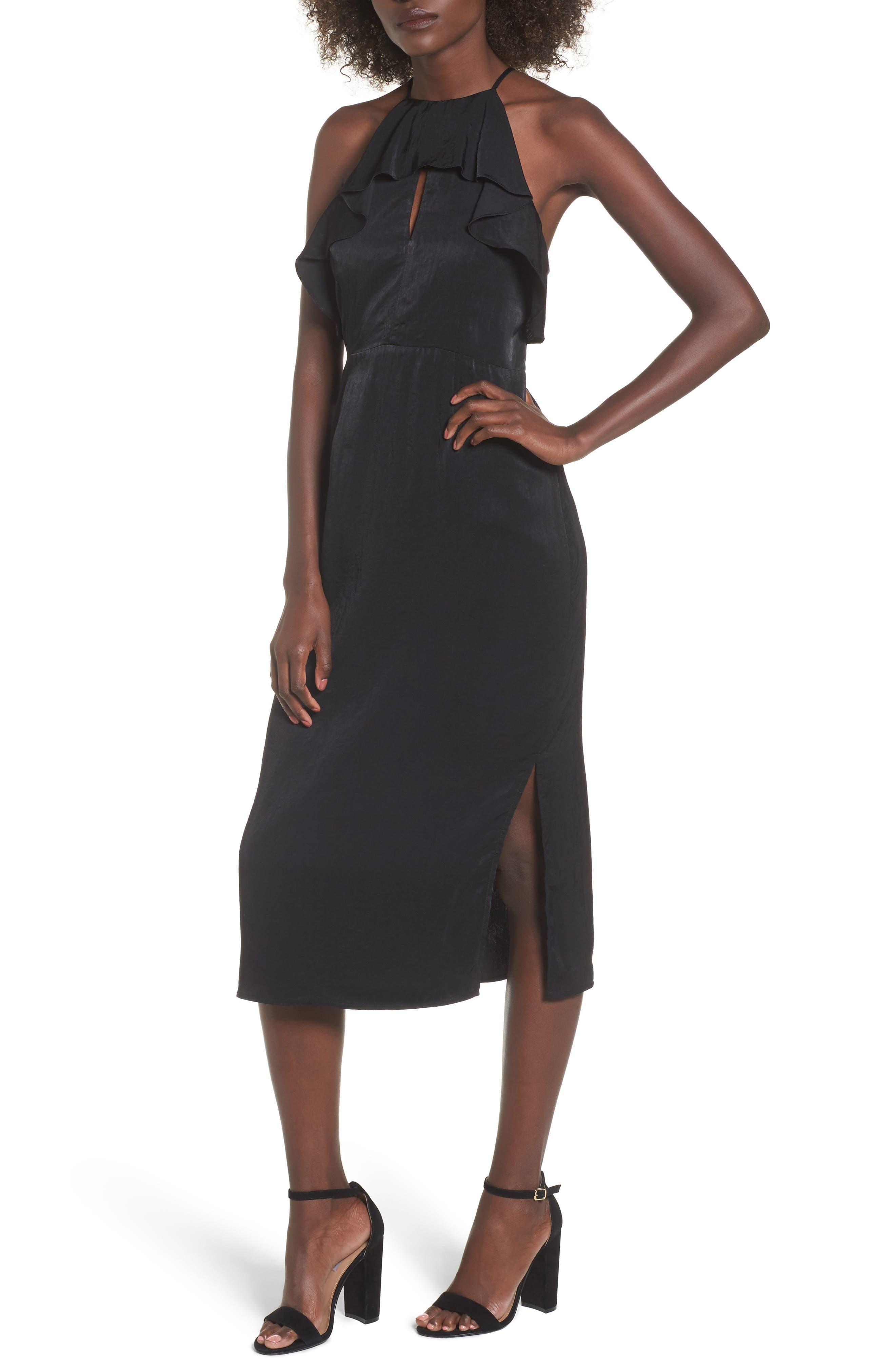Ruffle Neck Satin Midi Dress,                             Main thumbnail 1, color,                             001