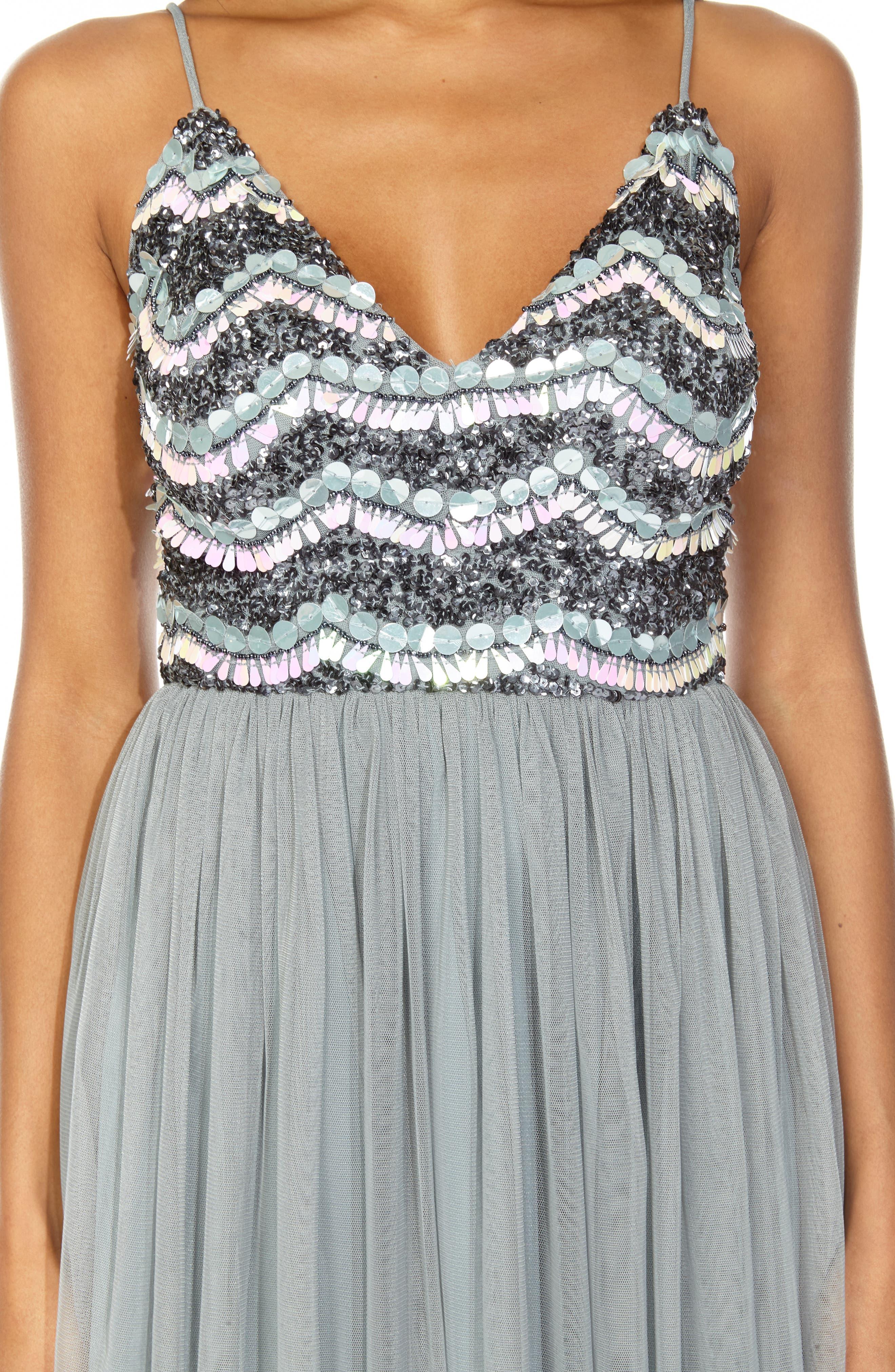 Amika Sequin & Mesh Party Dress,                             Alternate thumbnail 3, color,                             GREY