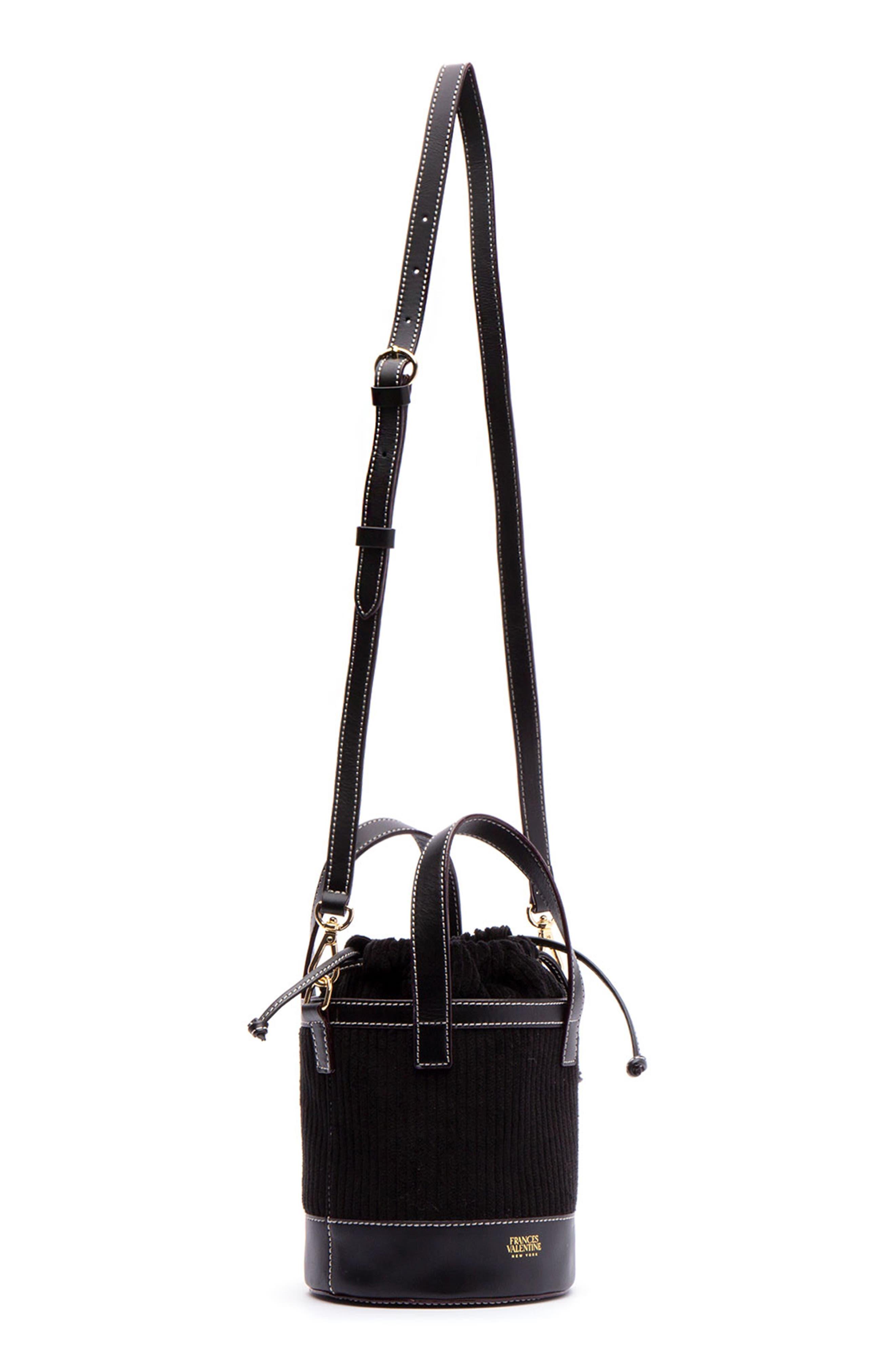 Small Corduroy Bucket Bag,                             Alternate thumbnail 3, color,                             BLACK