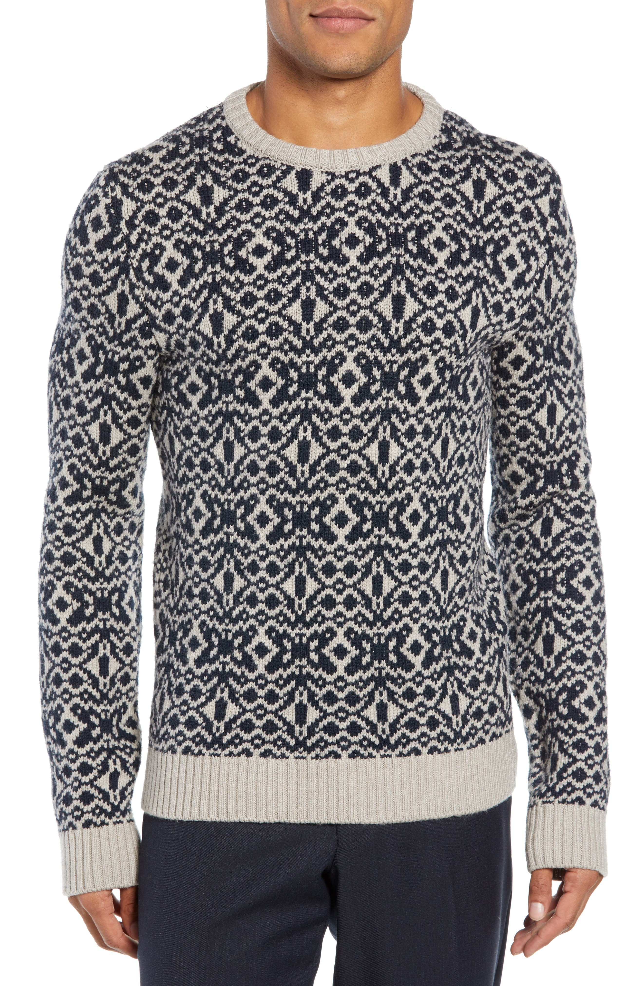 Patterned Wool Crewneck Sweater,                             Main thumbnail 1, color,                             STONE