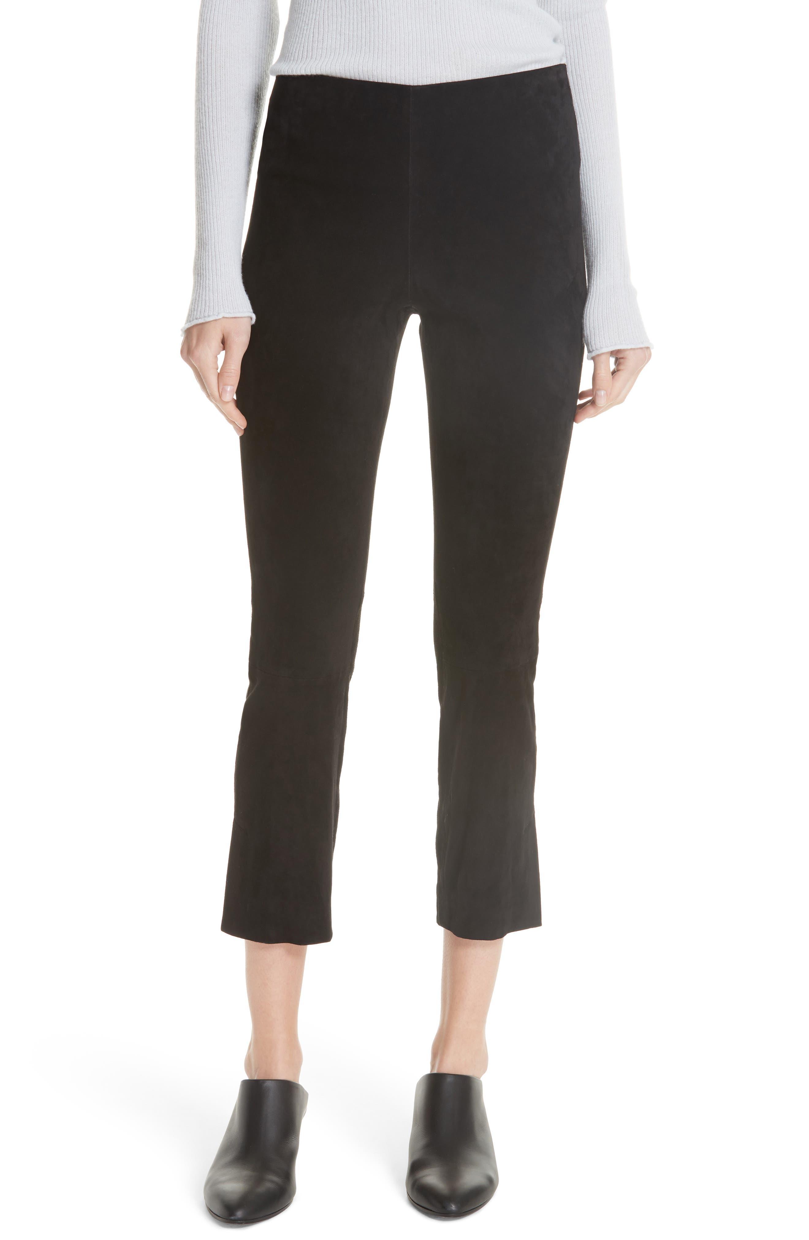 Stretch Suede Split Hem Crop Pants,                         Main,                         color, 001