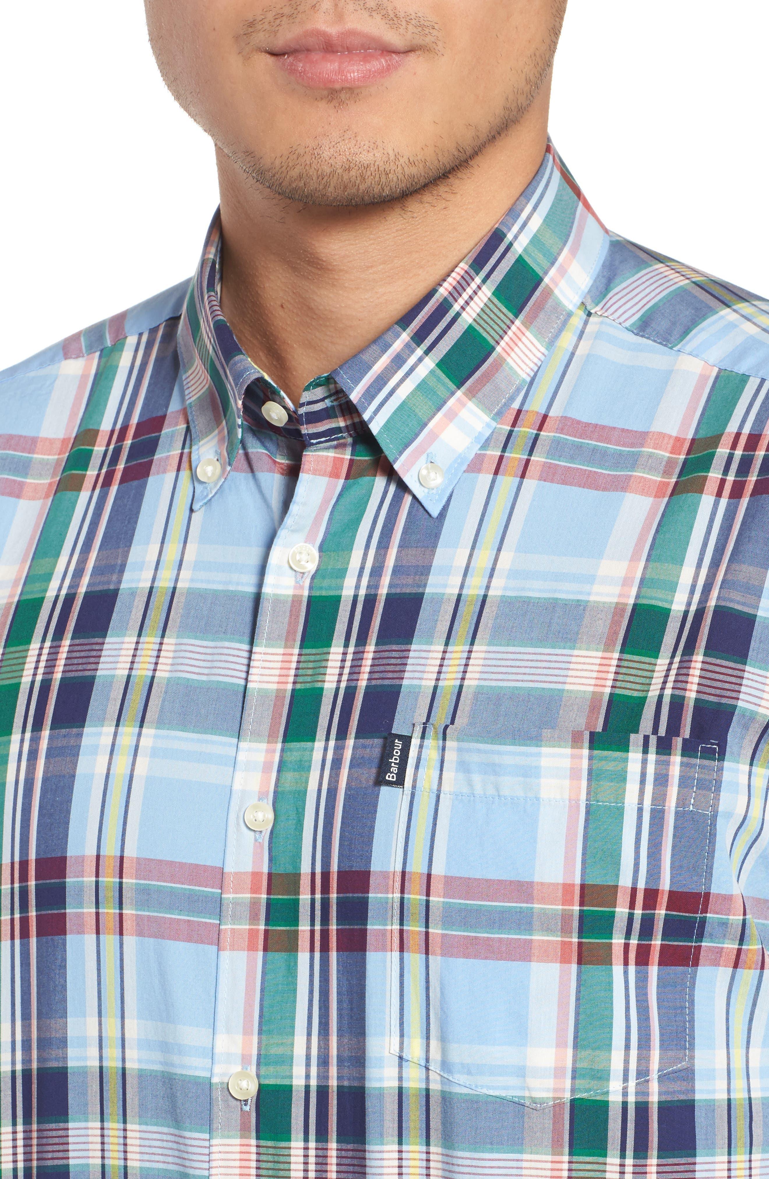 Jeff Trim Fit Plaid Sport Shirt,                             Alternate thumbnail 4, color,                             450